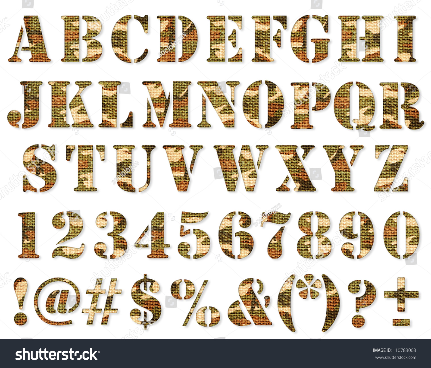 Military Camouflage Textured Abc Containing Letters Stock Photo