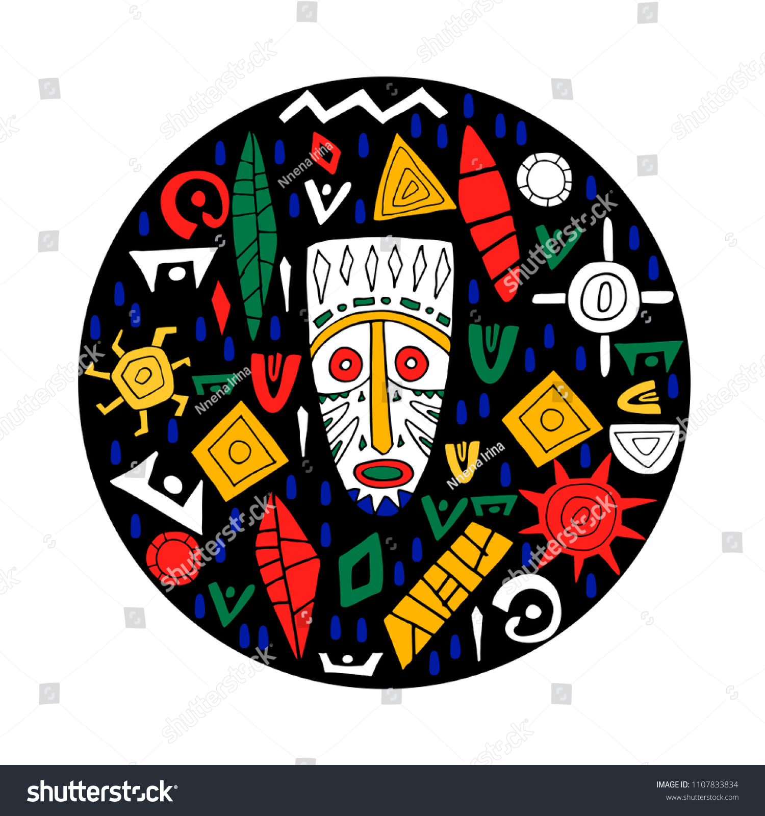 Conceptual Illustration Tribal African Mask Different Stock Vector