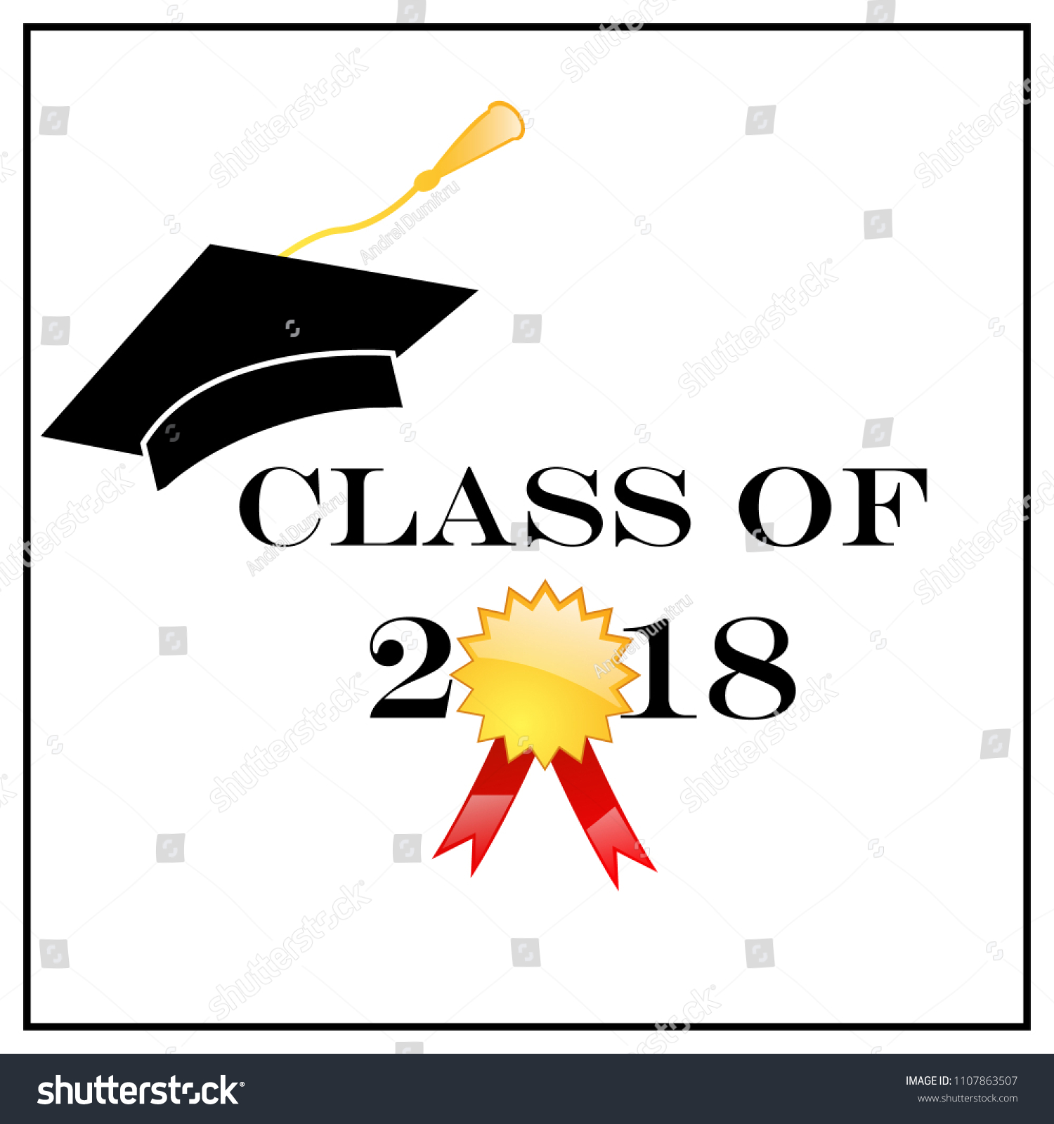 Graduation Class 2018 Greeting Cards Vector Stock Vector 1107863507