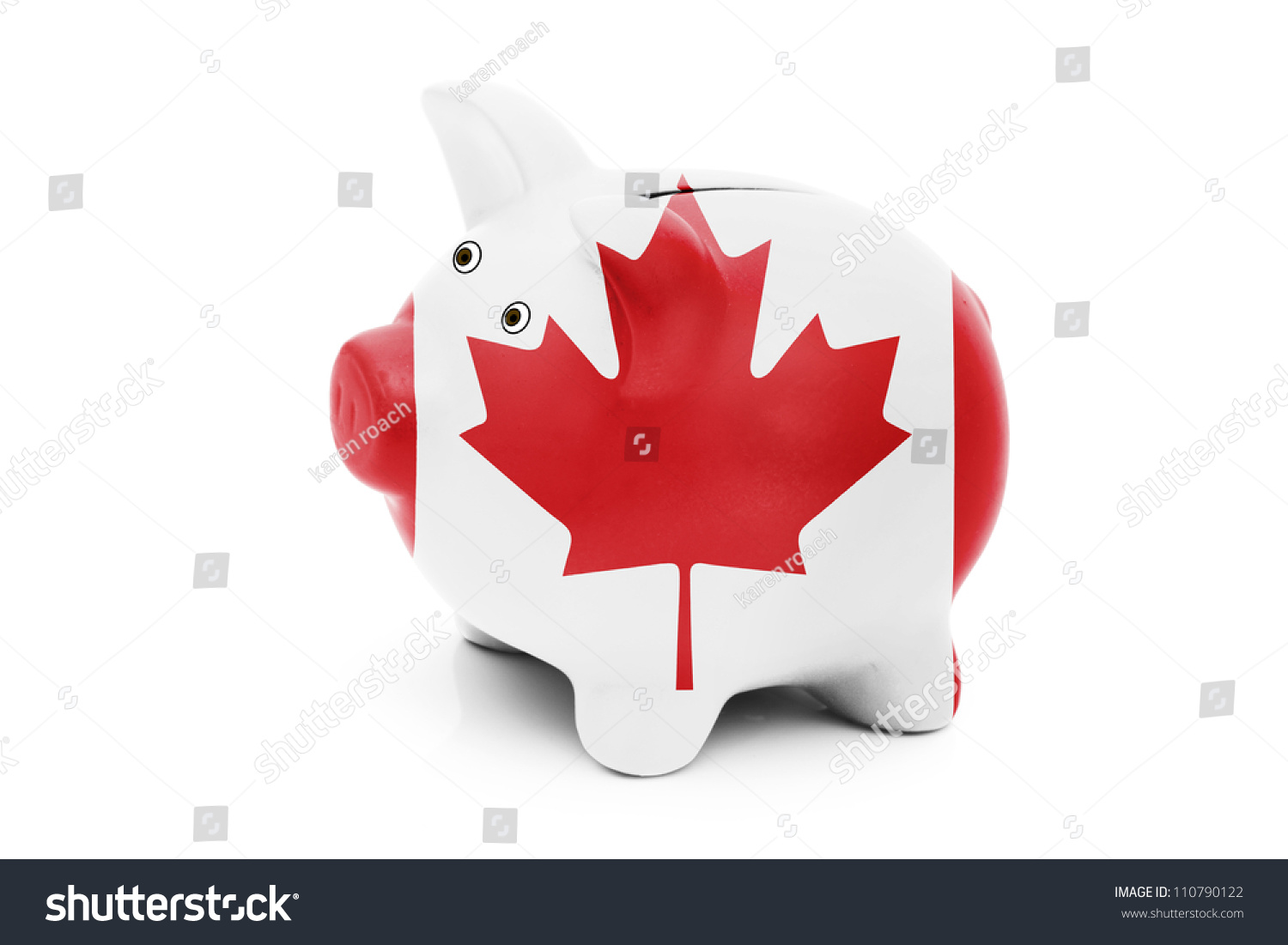 piggy bank canadian flag colors isolated stock photo 110790122