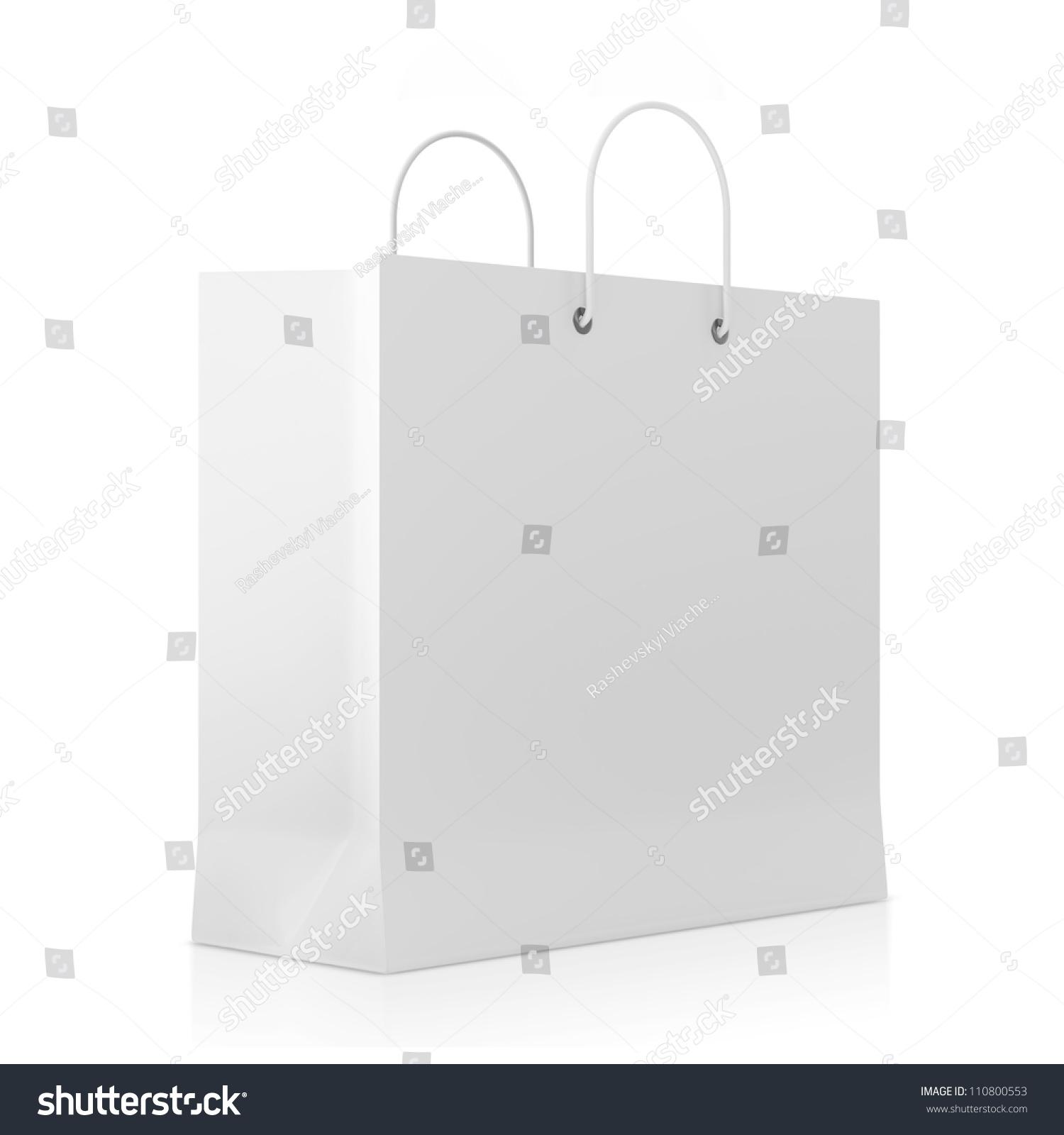 Blank White Shopping Bag Isolated On White Background Stock Photo ...