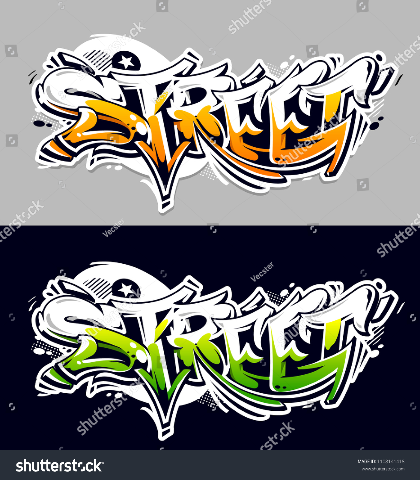 Street graffiti vector lettering abstract three dimensional art two color variations wild style graffiti