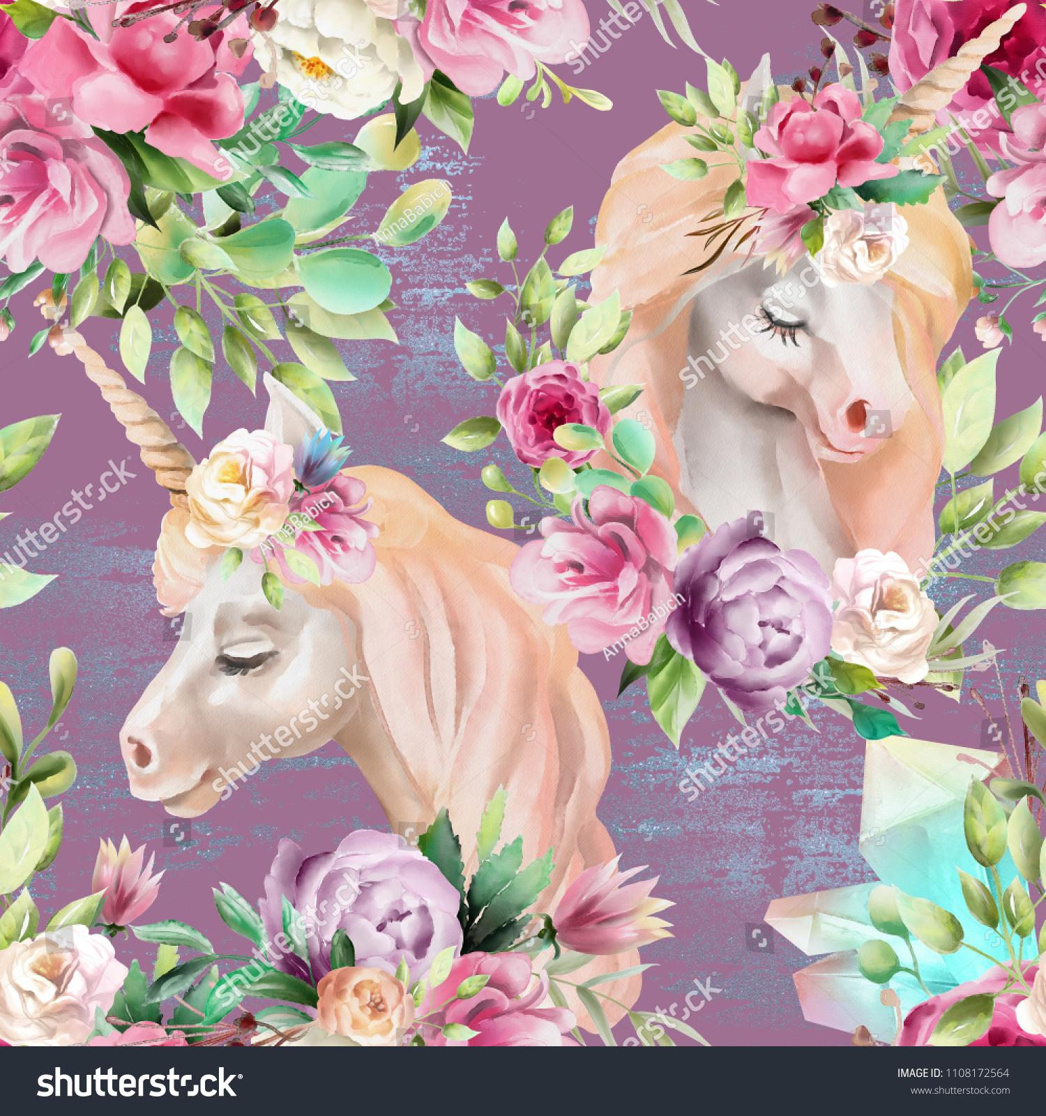 Beautiful watercolor unicorns princess pegasus violet stock beautiful watercolor unicorns princess pegasus with violet and cream peony pink roses magic izmirmasajfo