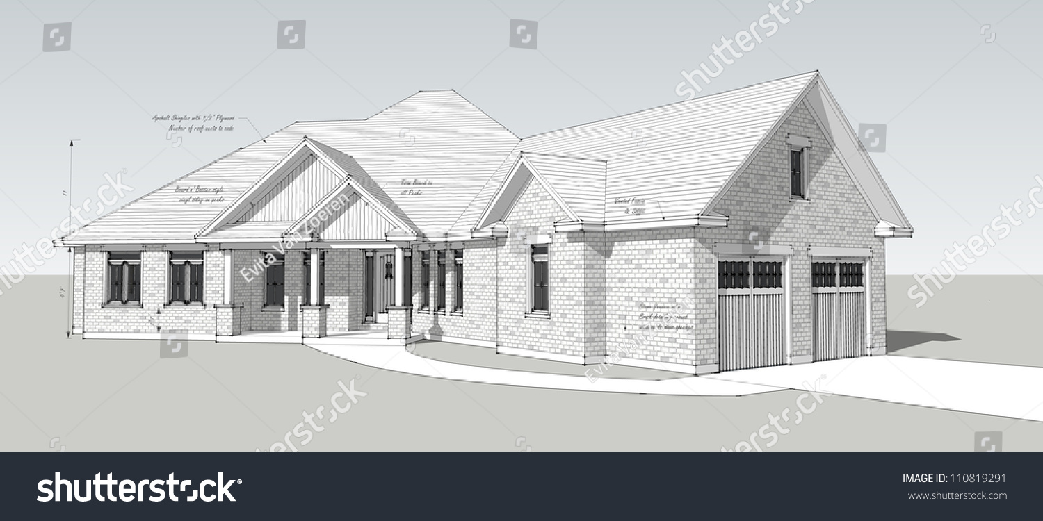 House Drawing Design With Detail Notes Stock Photo 110819291 Shutterstock