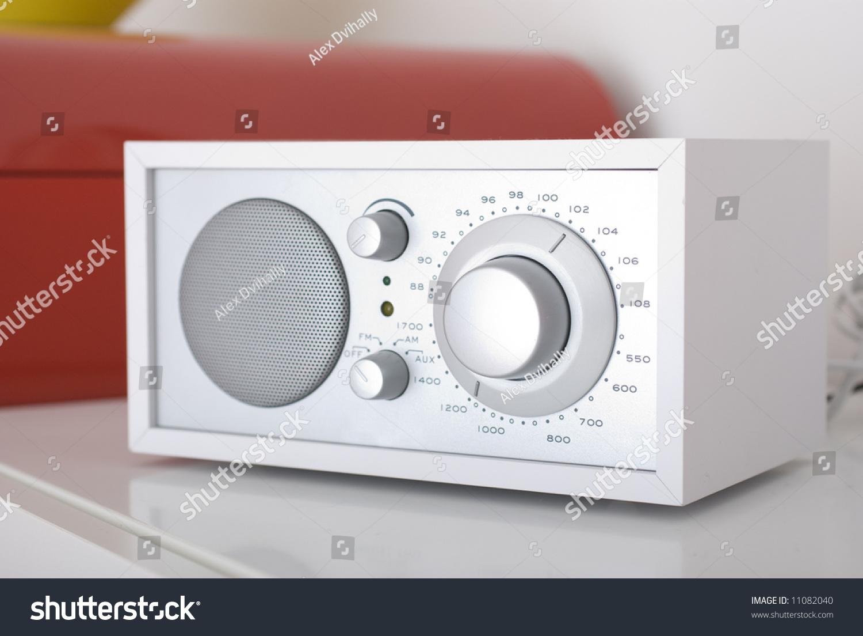 A Modern Radio Set With Retro Design, White And Silver ...
