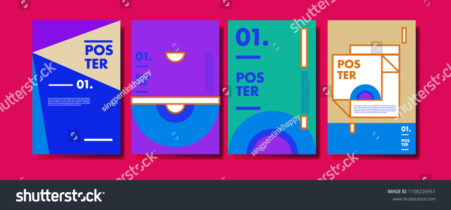 Abstract Colorful Collage Poster Design Template Stock Vector