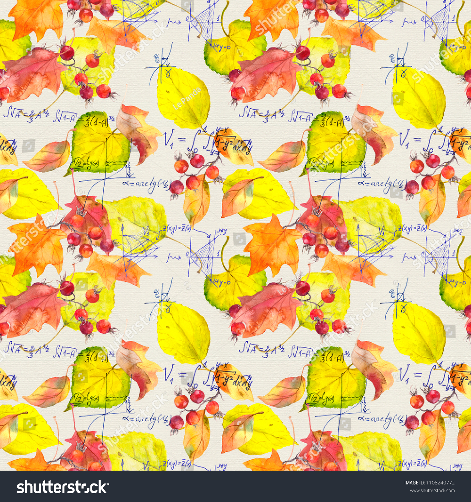 Science Design  Mathematical Text With Yellow Autumn Leaves Seamless