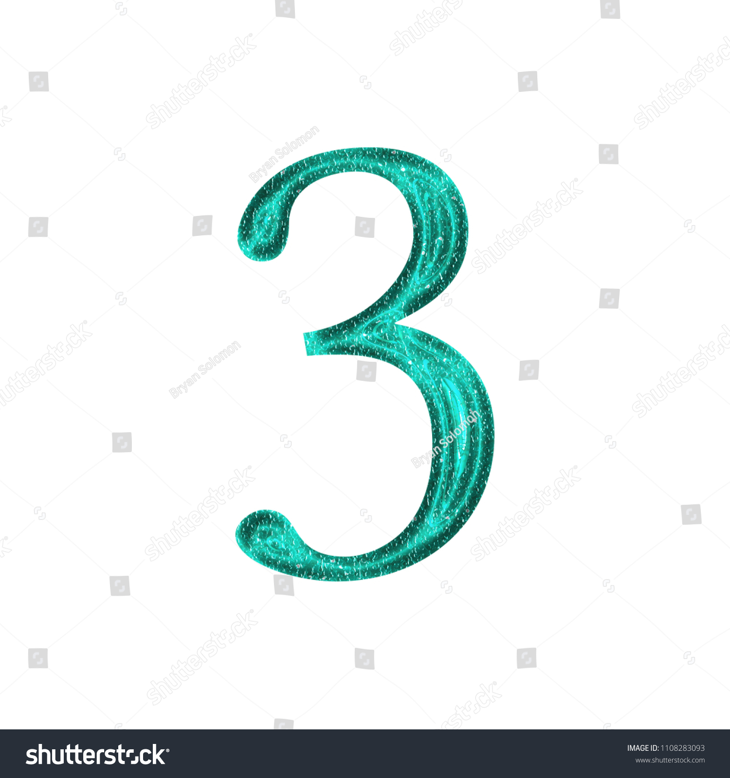 Shiny Sparkly Teal Color Plastic Number Stock Illustration ...