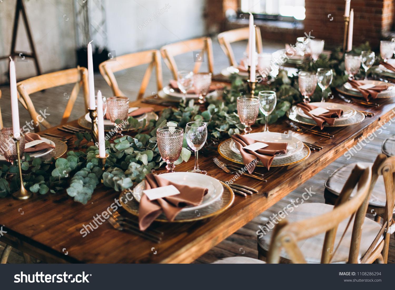 Wedding Rustic Style Wedding Table Decoration Stock Photo (Edit Now)  1108286294