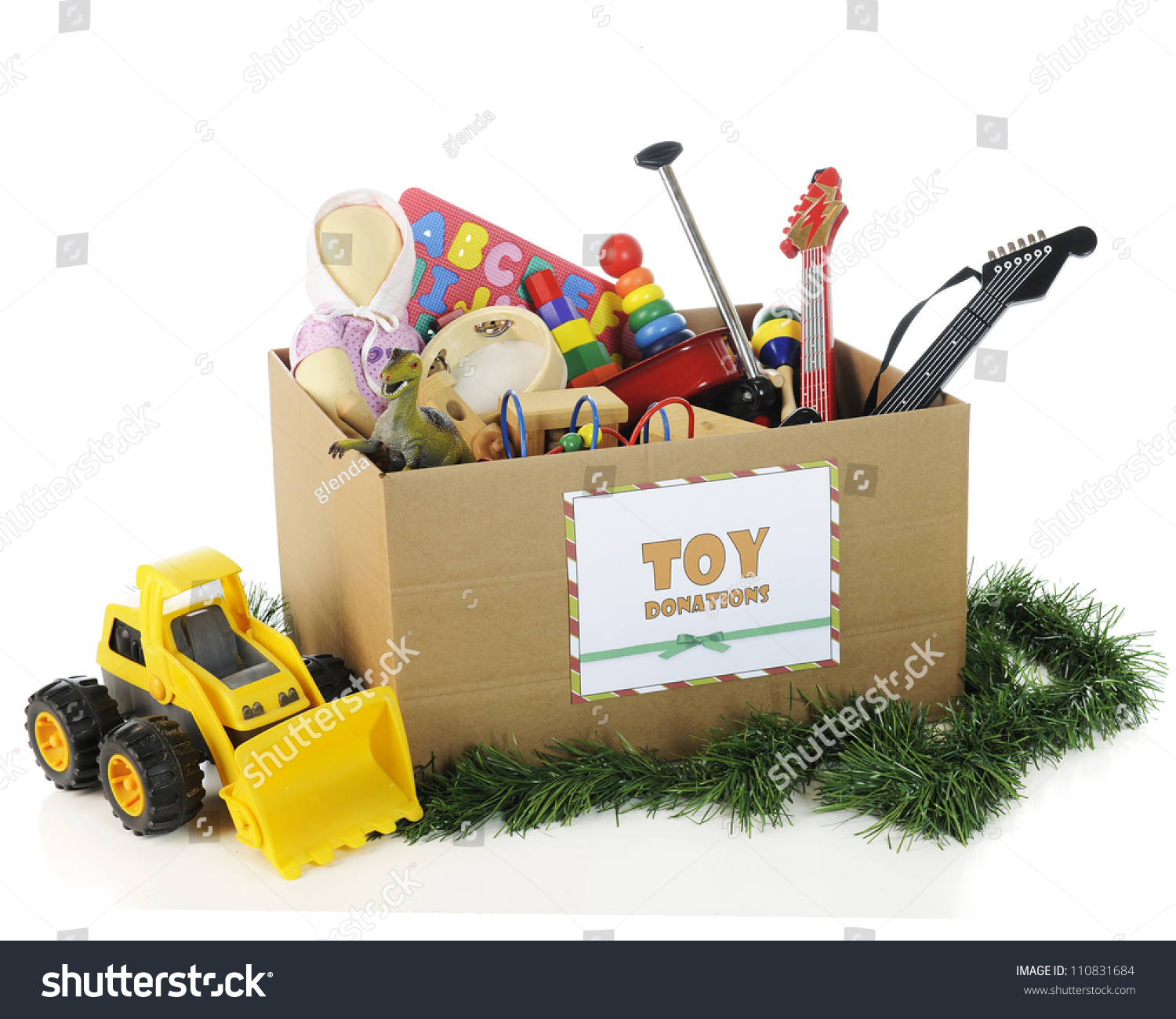 Christmas Toy Box : A box with sign for christmas toy donations filled