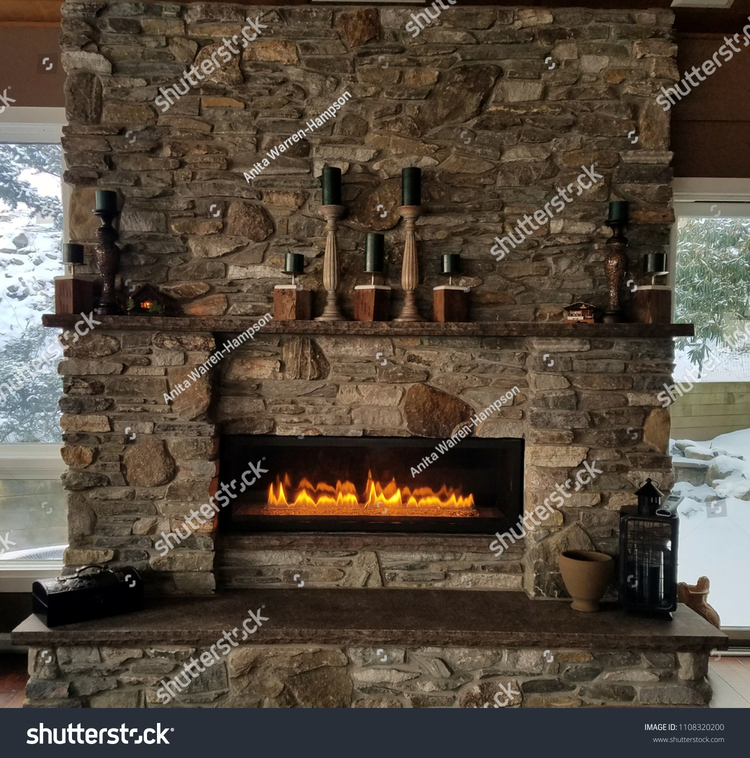 Natural Rustic Stone Fireplace Roaring Flames Stock Photo Edit Now 1108320200