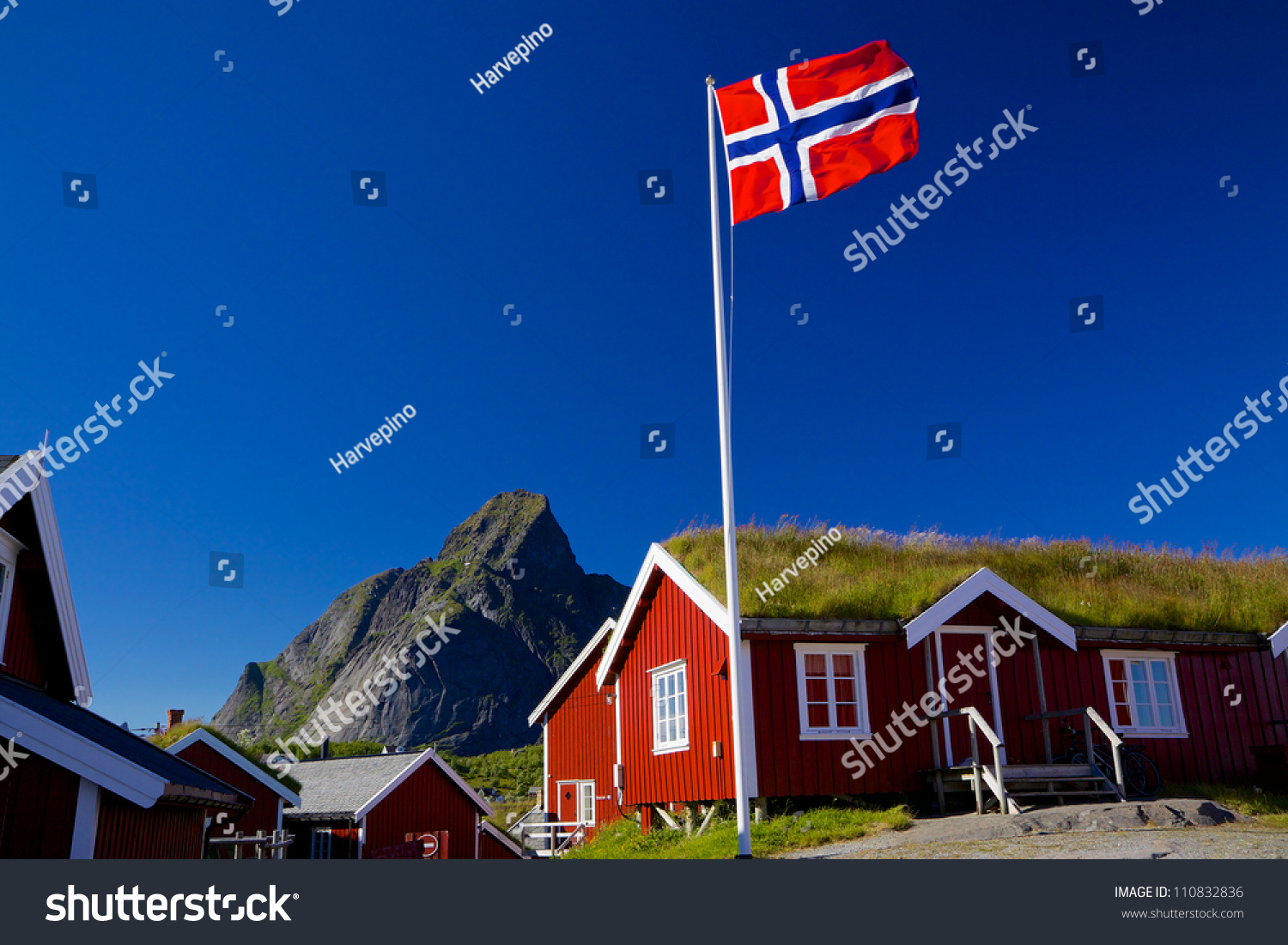 norwegian flag typical norwegian red wooden stock photo 110832836
