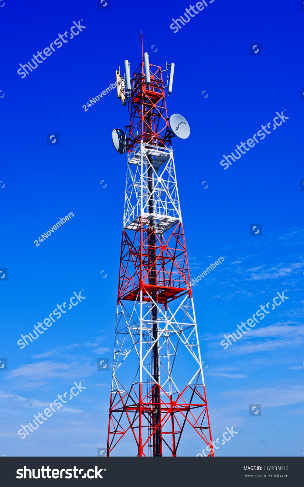 Telecommunications Tower Painted White Red Day Stock Photo (Edit Now