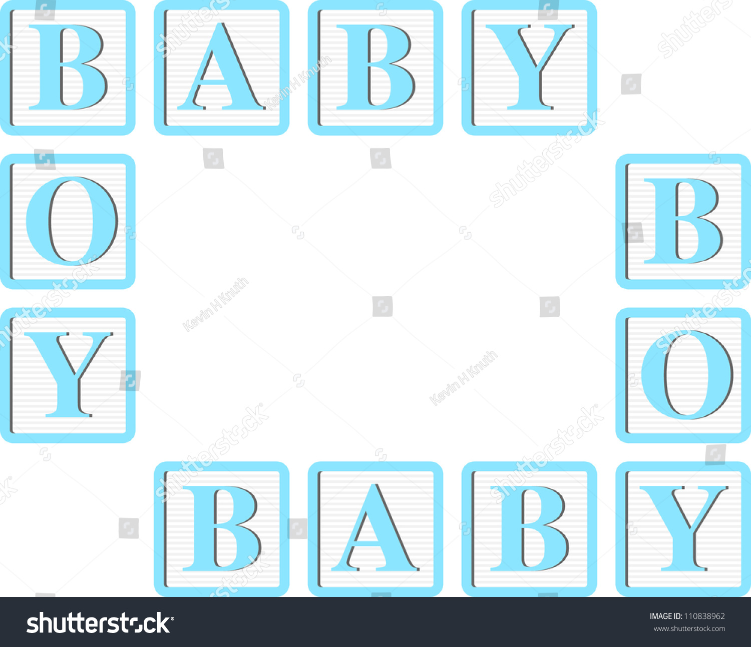 baby boy blue block letters for invitations cards or announcements