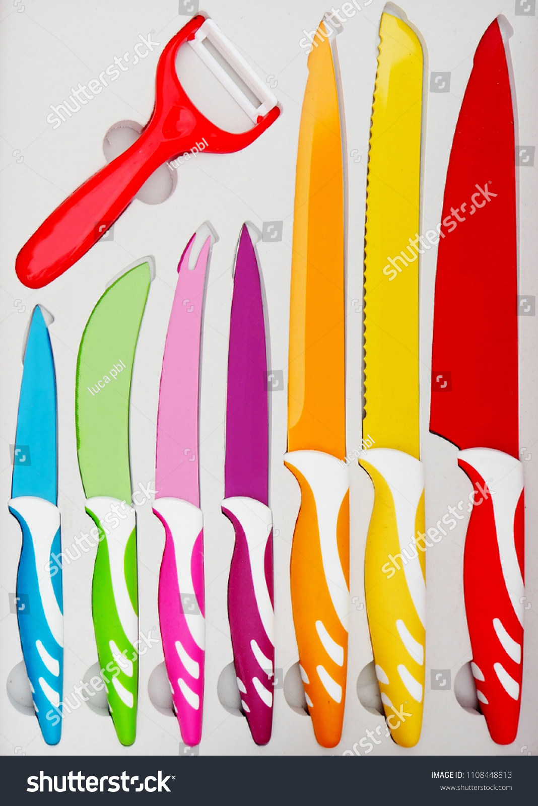 Set Colorful Kitchen Knives Various Uses Stock Photo (Edit ...