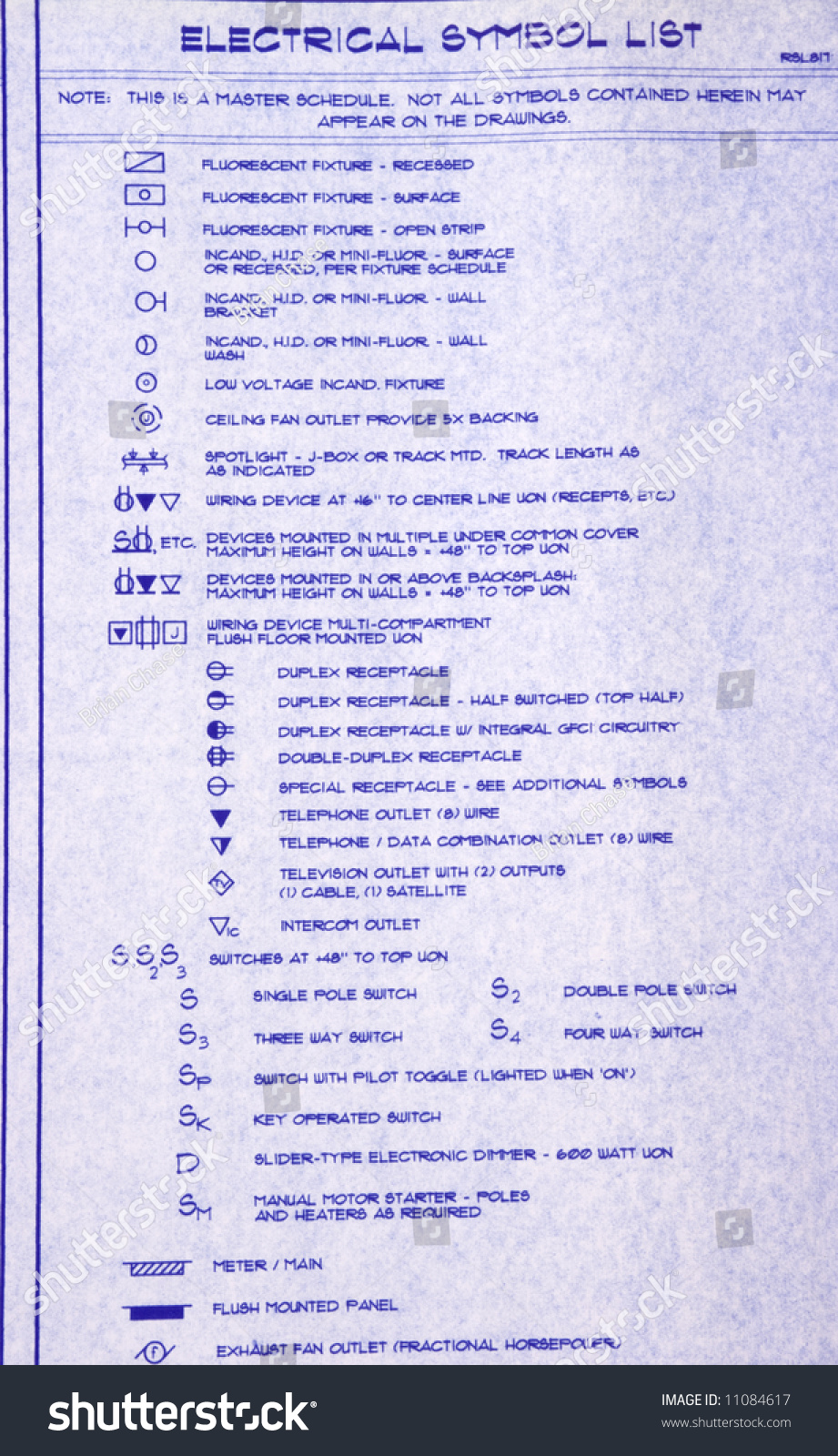 Electrical Symbol List Blueprint Stock Photo Edit Now 11084617 All The Schematic Symbols For Data Communications Tv And Of A