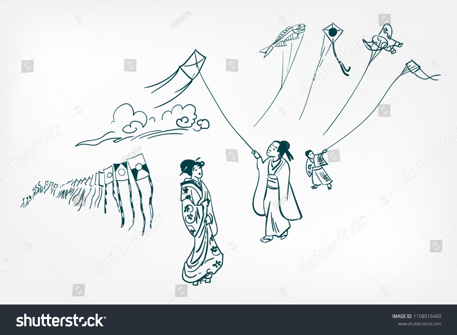 Kite Festival Japanese Traditional Sketch Vector Stock Chinese Template How To Make A Diagram For Illustration Ink Design Elements