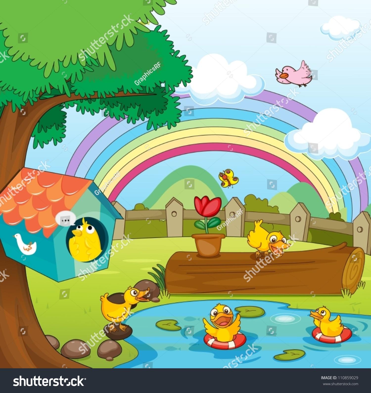 Beautiful garden cartoon - Illustration Of Birds In Beautiful Garden And Rainbow