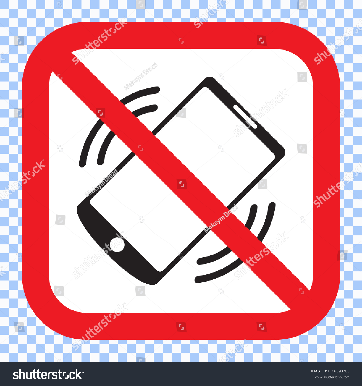 No Phones Square Red Vector Sign Stock Vector (Royalty Free) 1108590788