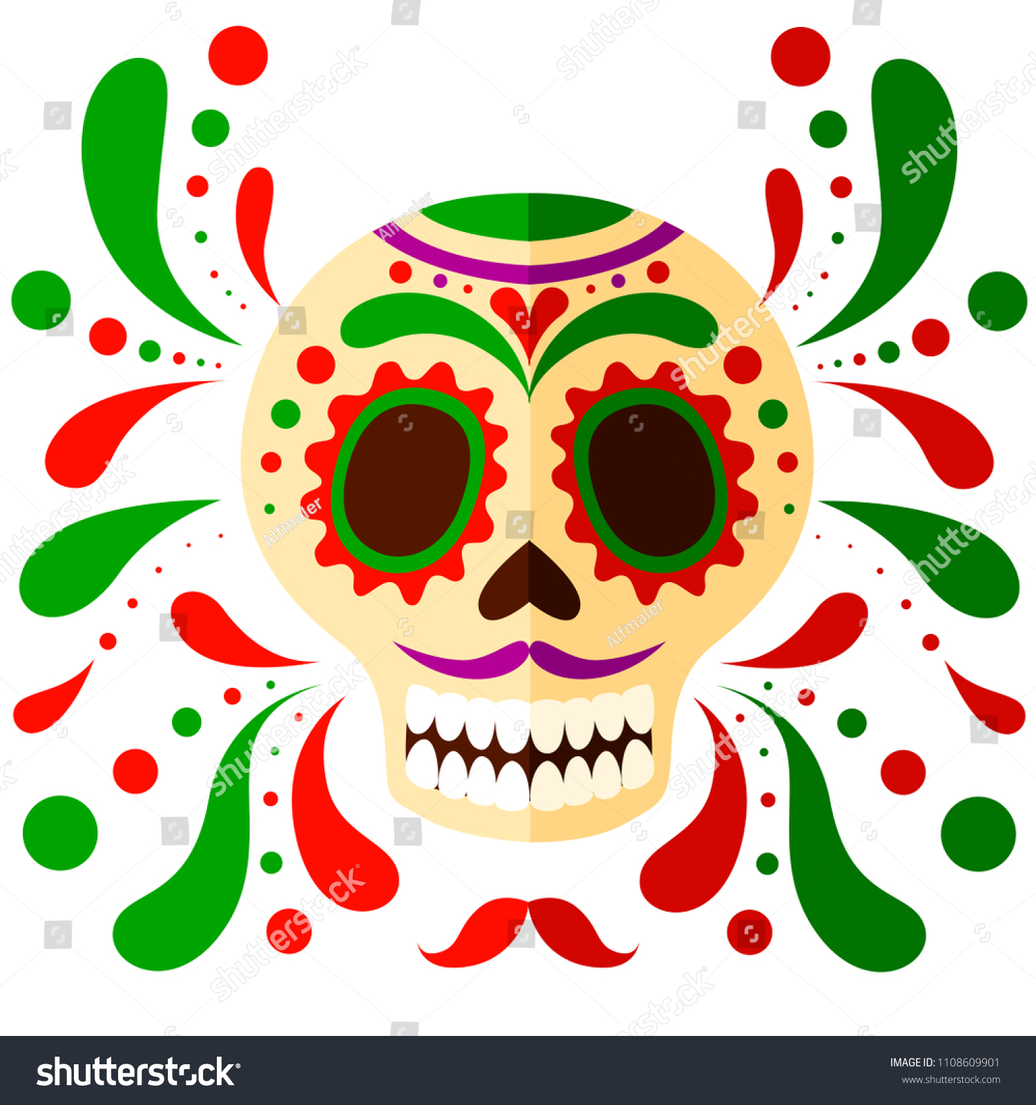 Colorful Mexican Skull Mask Day Dead Stock Vector Royalty Free