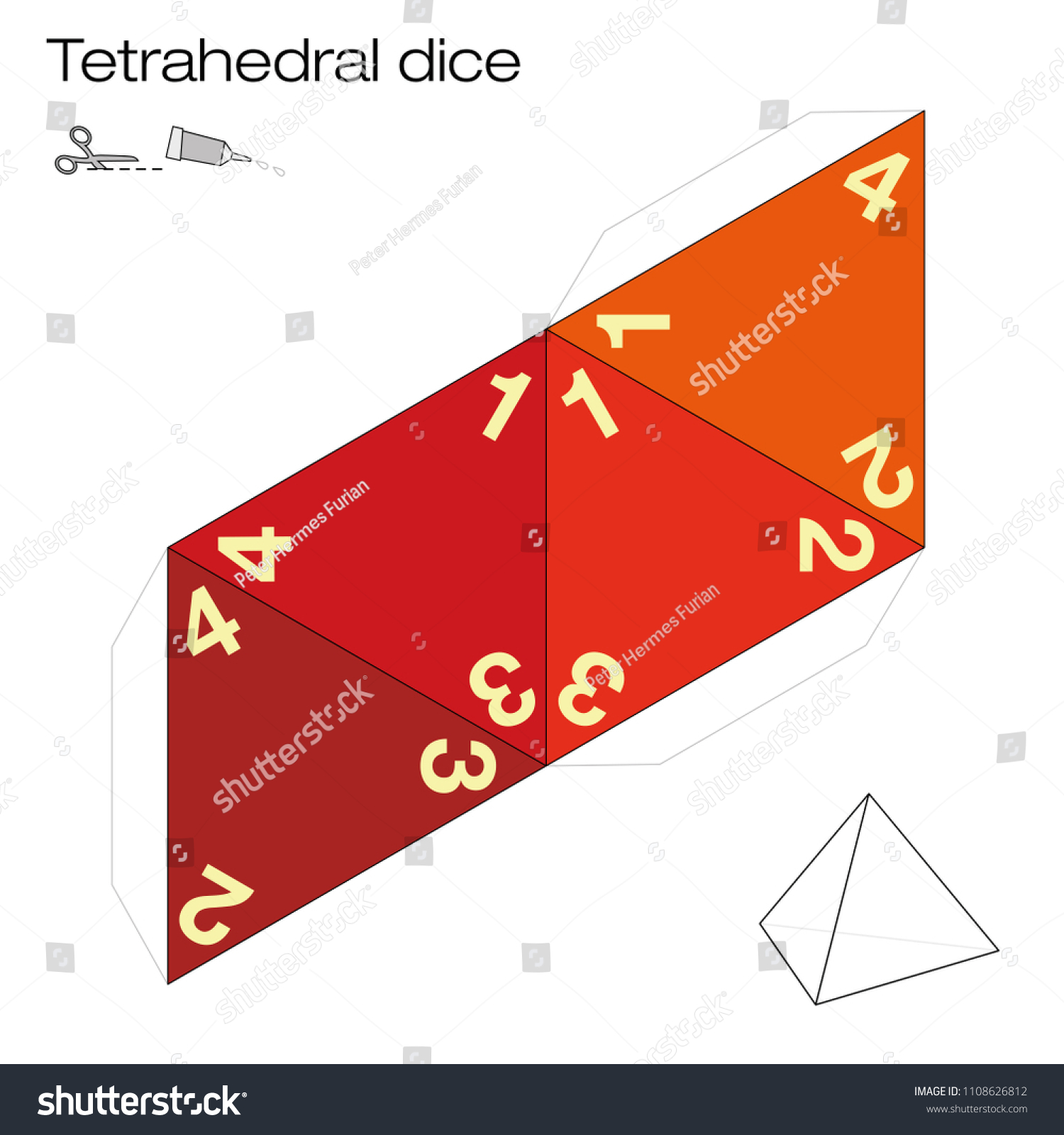 Tetrahedron Template Four Sided Tetrahedral Dice Stock Vector