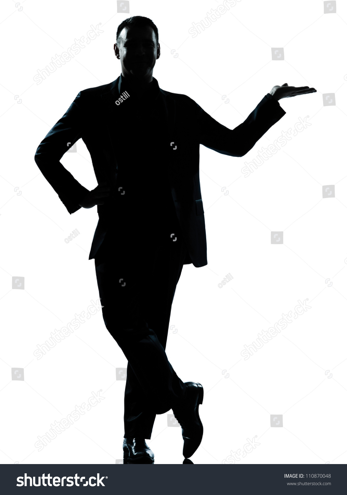 One Caucasian Business Man Silhouette Standing Hand Open ...