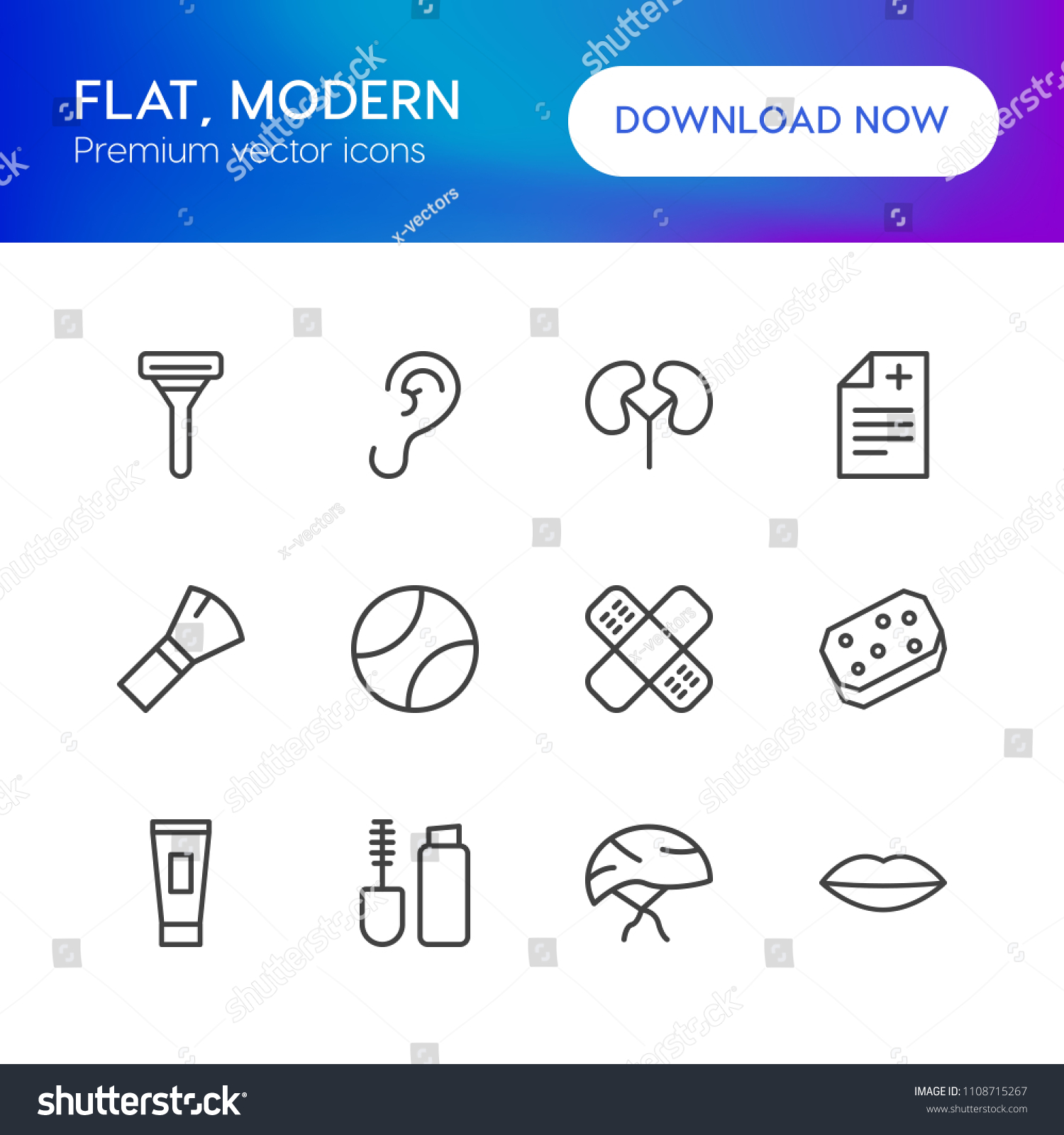 Vector Illustration Outline Icons Health Sports Stock Vector ...