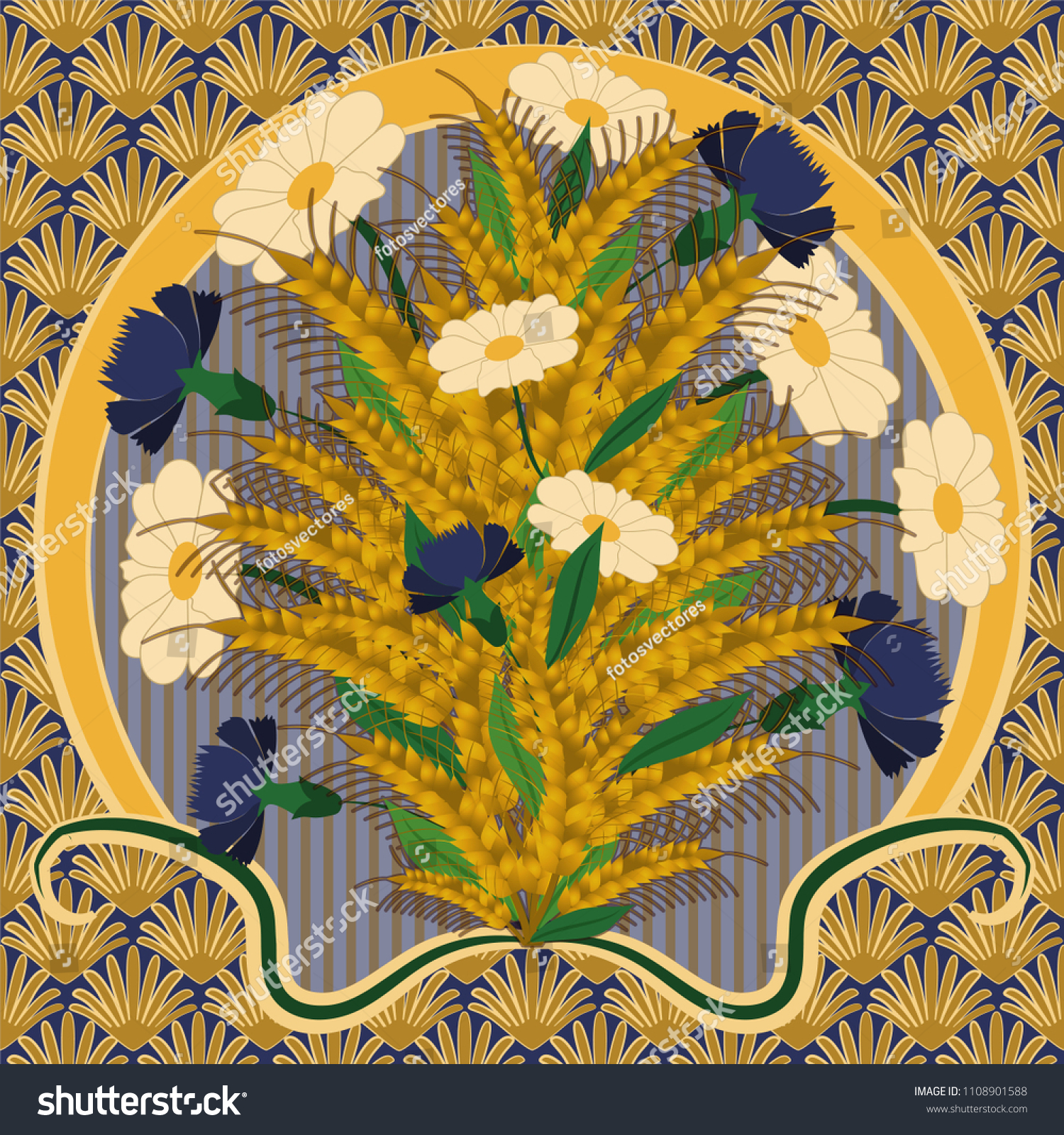 Wallpaper Camomile Cornflower Art Nouveau Style Stock Vector ...