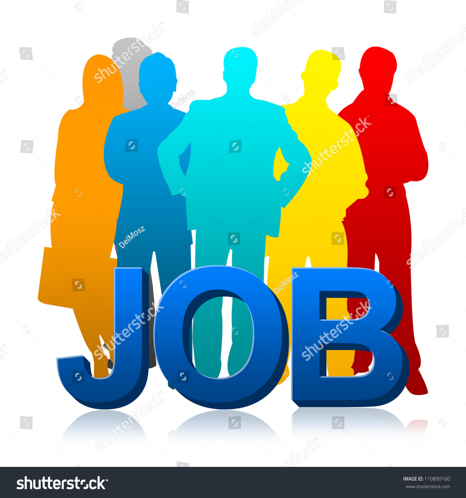 colorful candidate d job for job seeker concept isolated on save to a lightbox