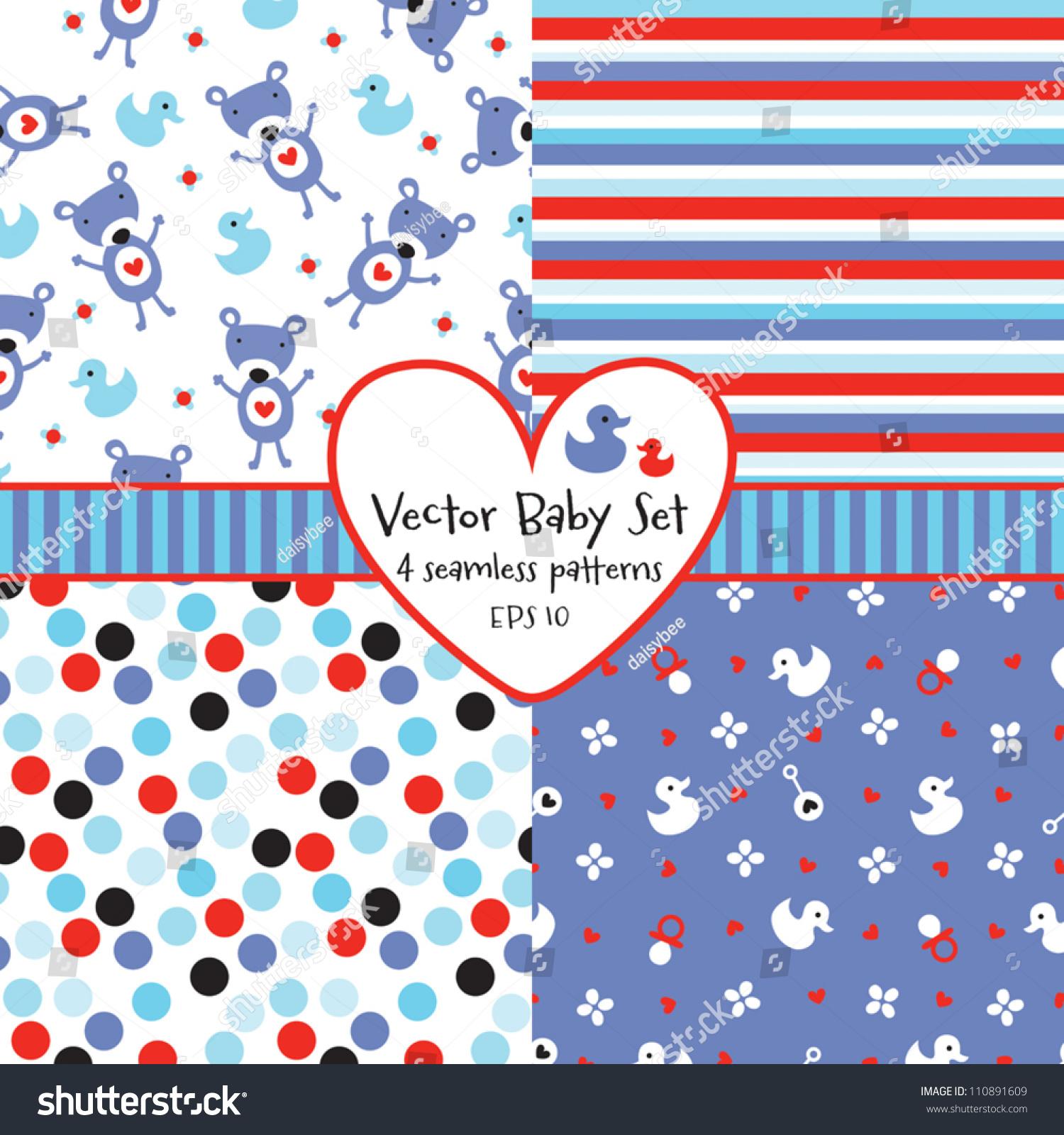 Vector Set 4 Seamless Baby Boy Stock Vector 110891609 Shutterstock