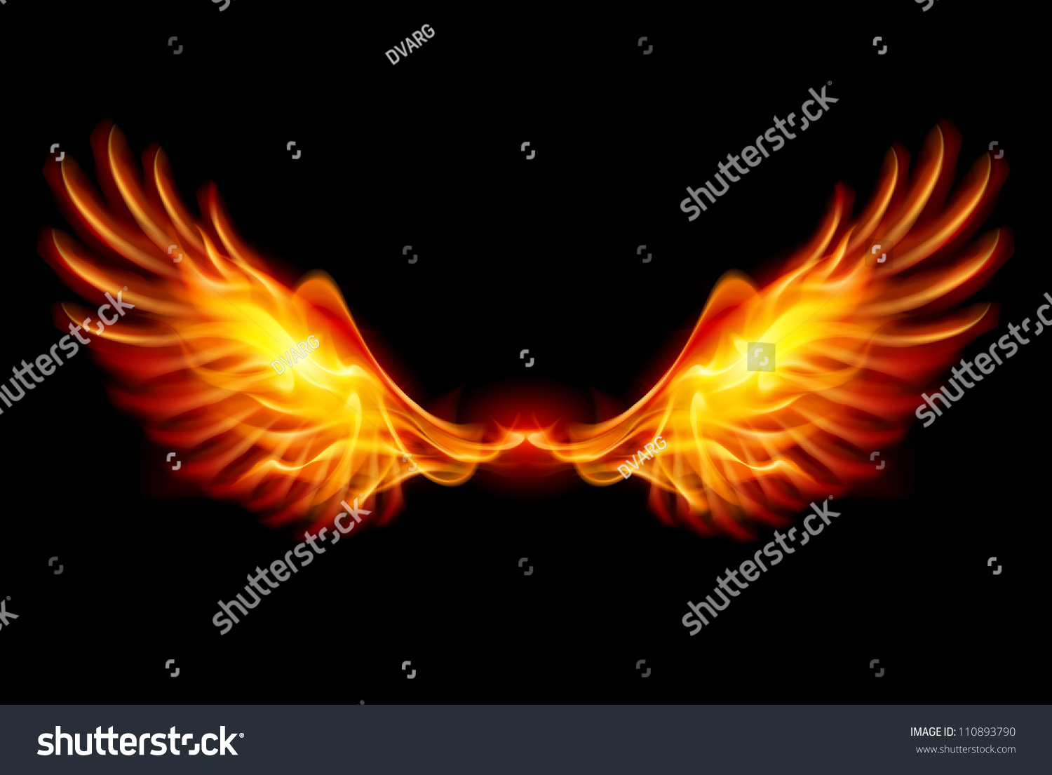 wings in flame and fire illustration on black 110893790