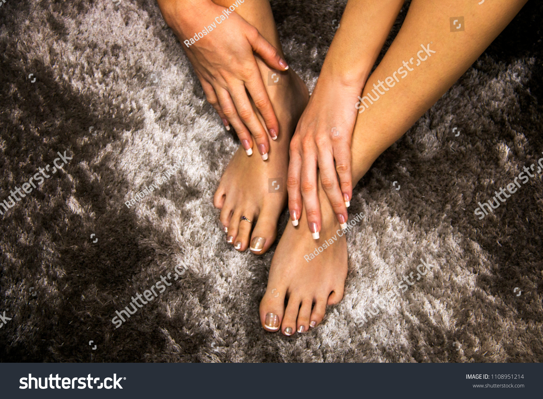 Beautiful Woman Feet Hands French Manicure Stock Photo & Image ...