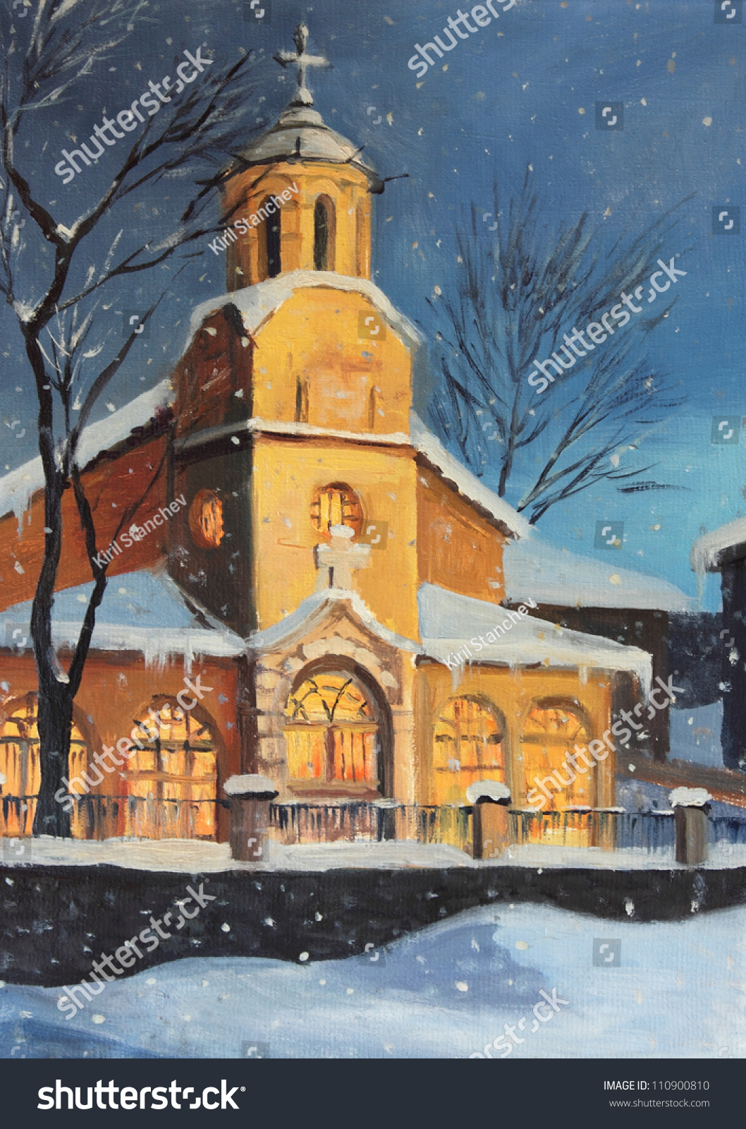 An Oil Painting On Canvas Of A Christmas Night Magical