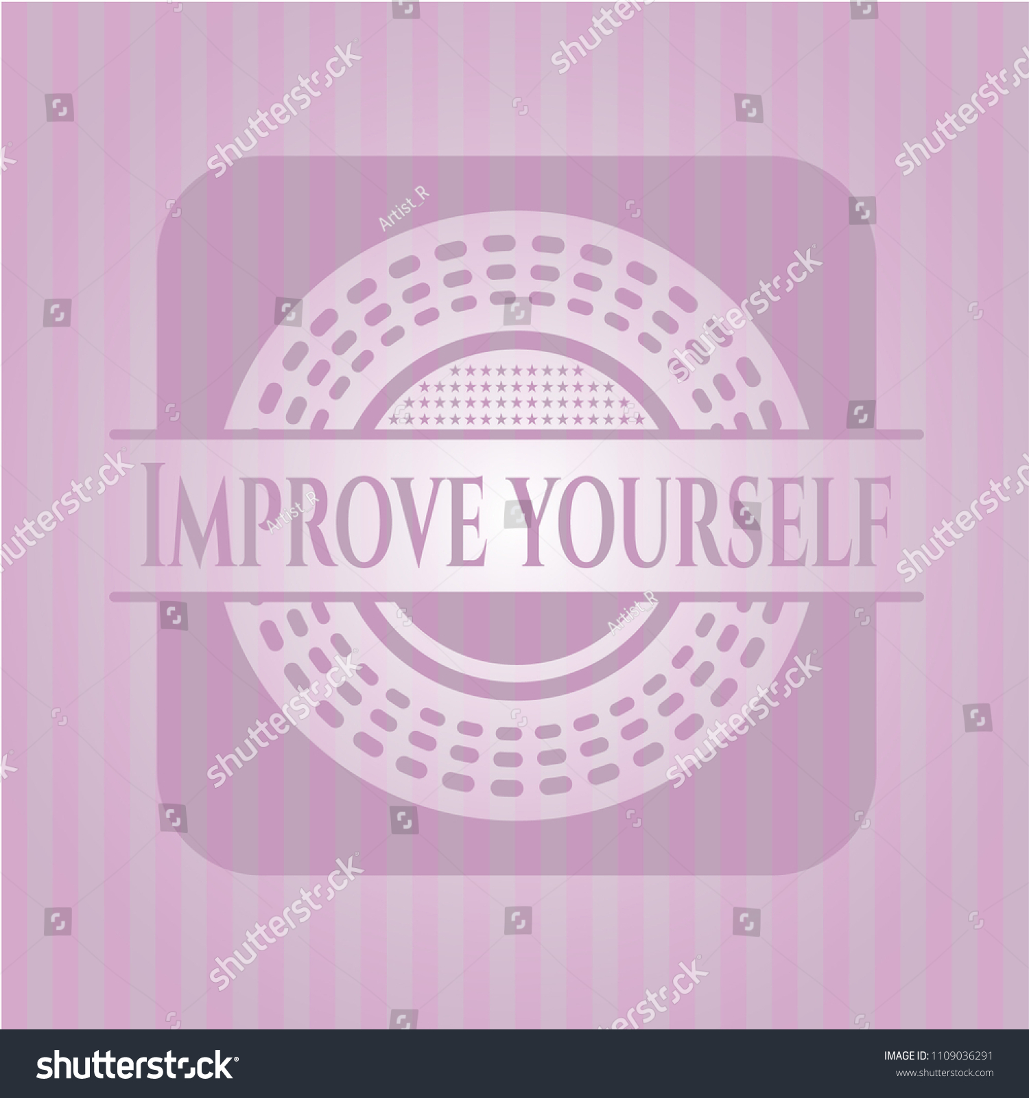 Improve Yourself Retro Style Pink Emblem