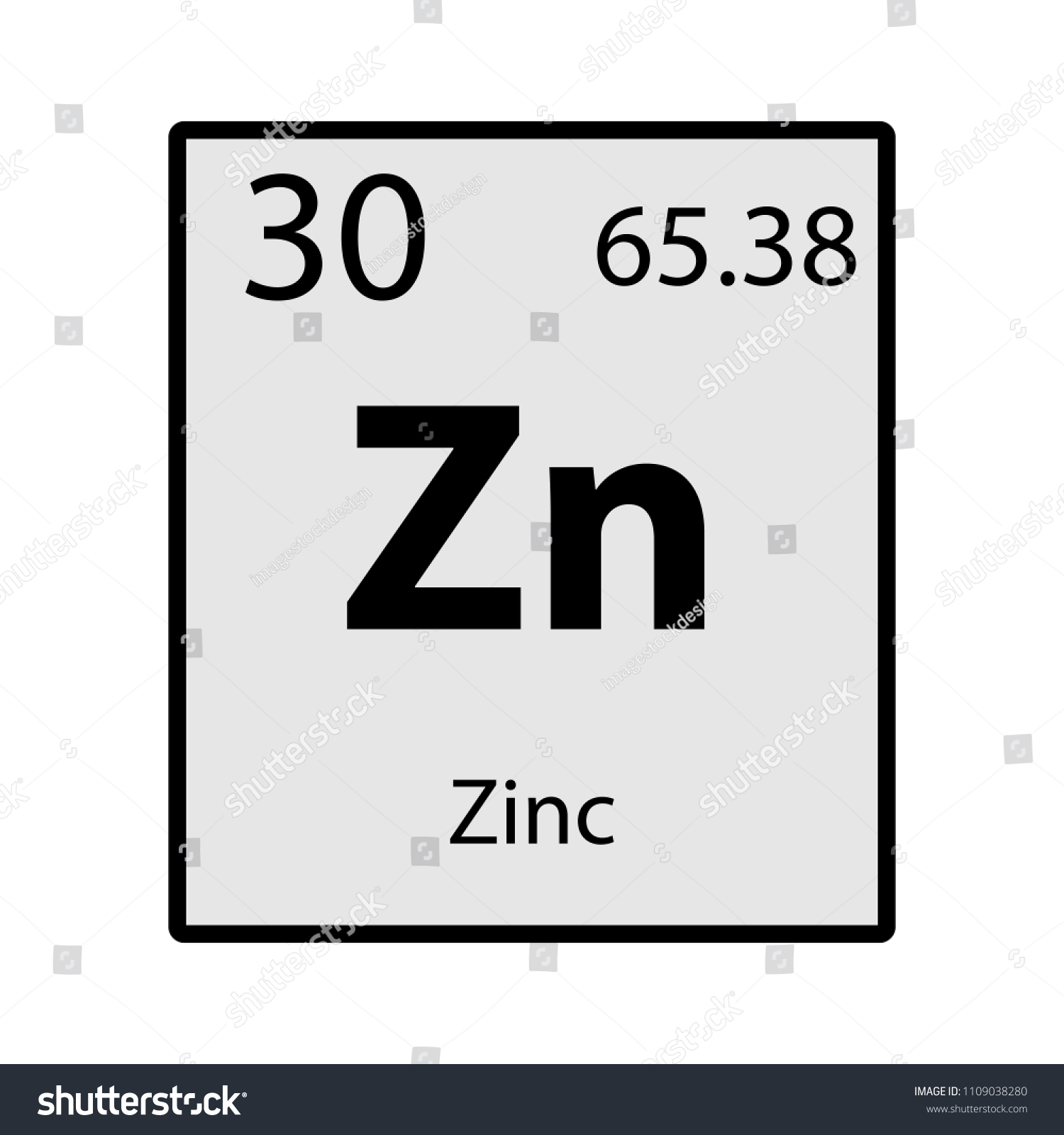 Zinc Periodic Table Element Gray Icon Stock Vector Royalty Free