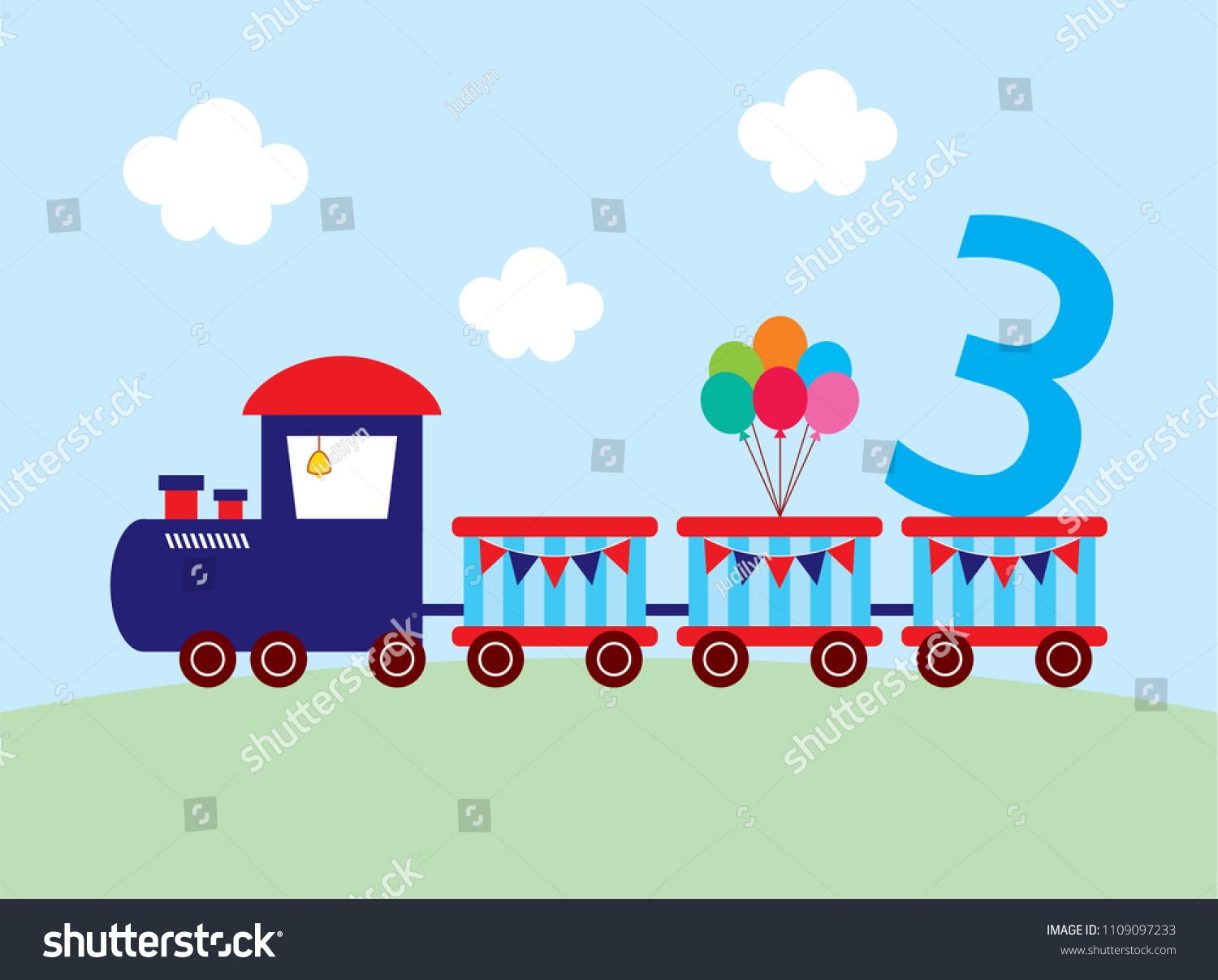 Cute Train 3 Years Old Birthday Stock Vector 1109097233 - Shutterstock