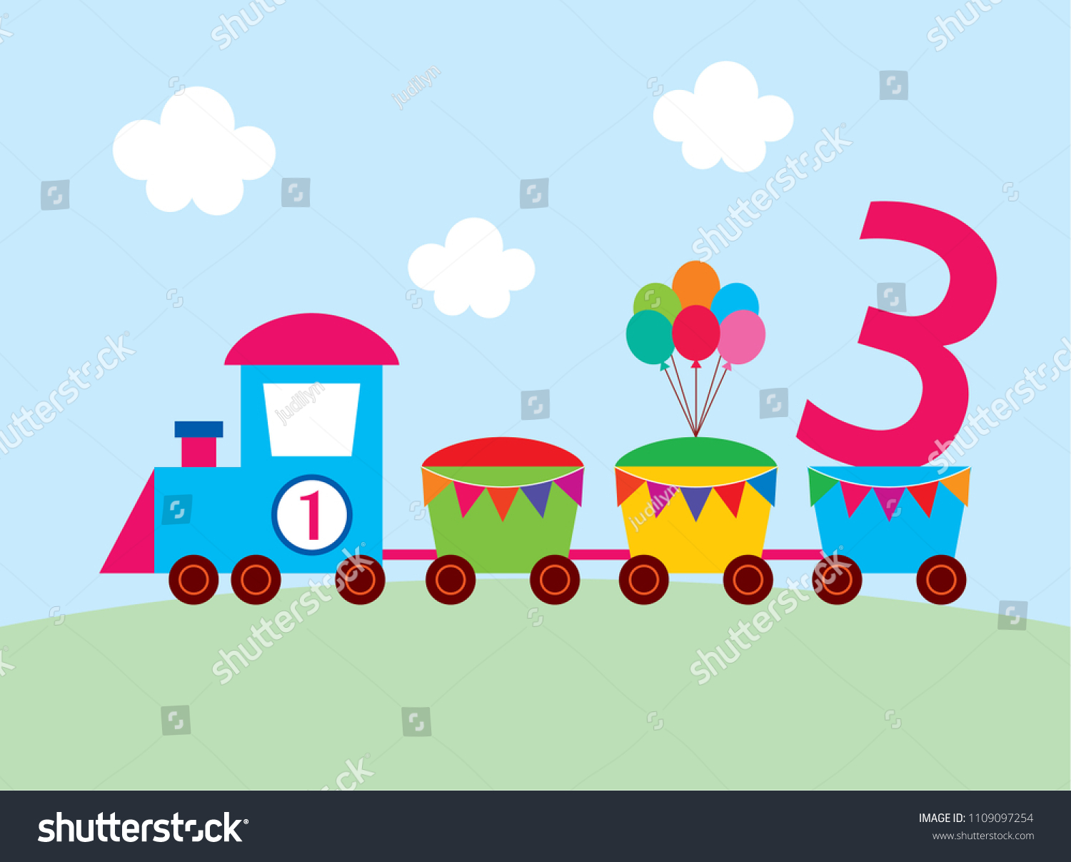 Cute Train 3 Years Old Birthday Party Card Vector 3rd Invitation