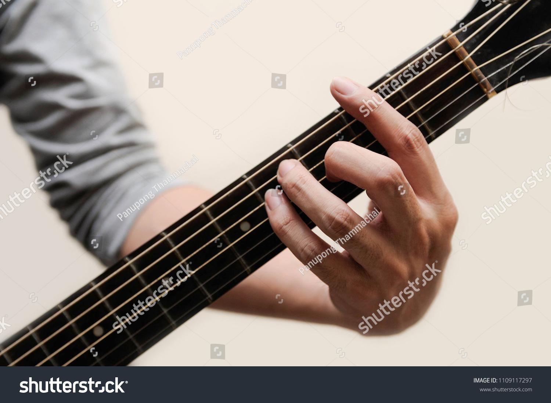 Guitar Chords Selective Focus Guitarist The Musician Holding Guitar