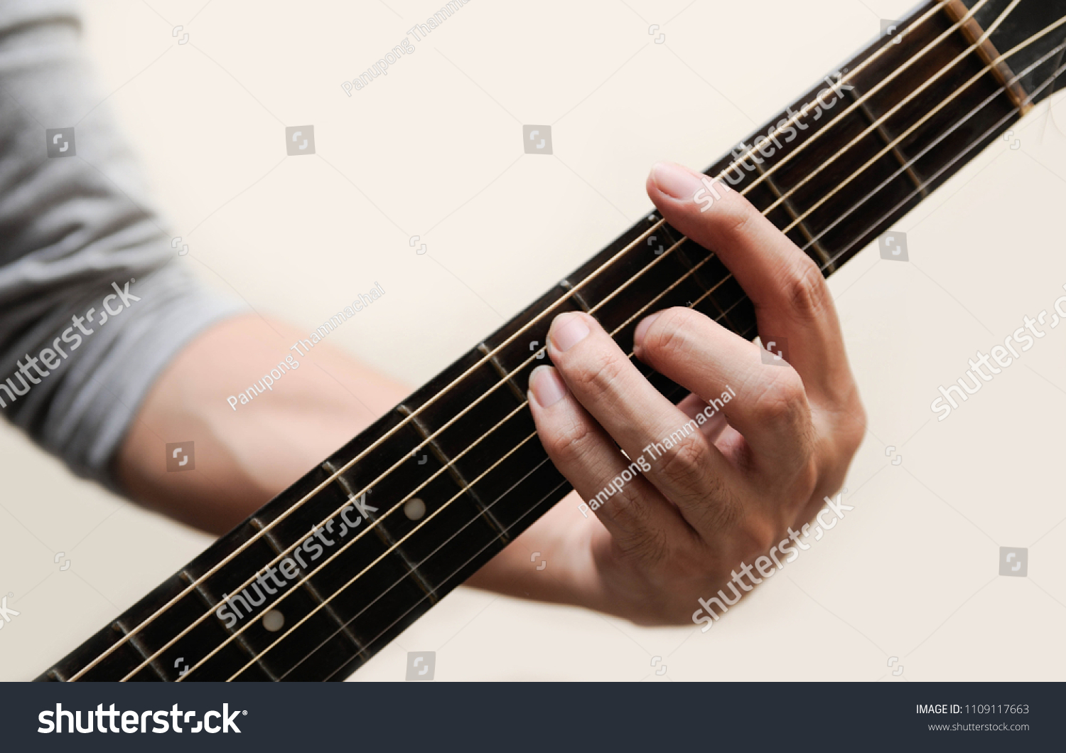 Guitar Chords Selective Focus Guitarist The Musician Holding Guitar