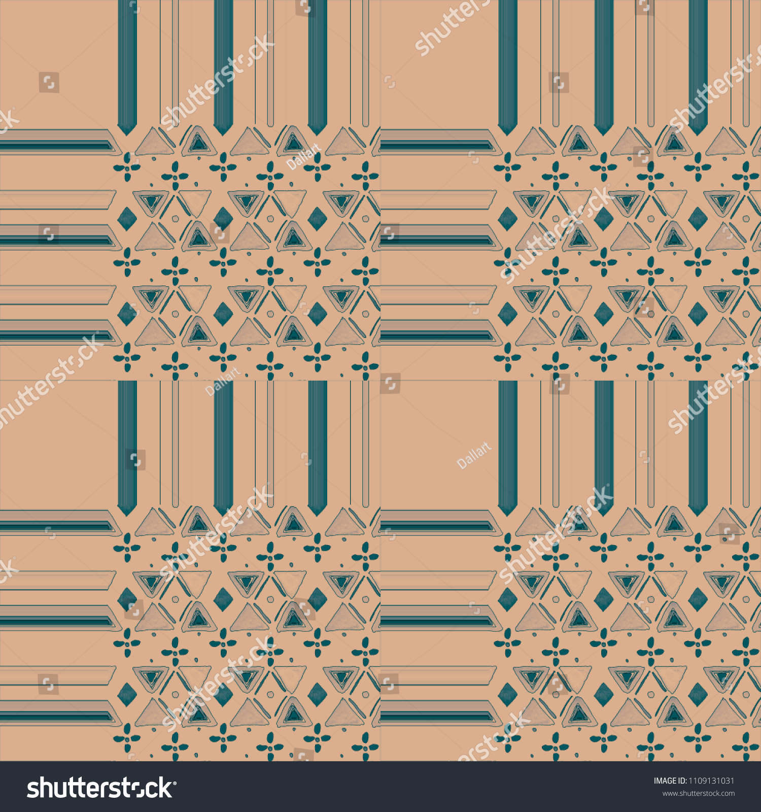Tiles Background With Stripes And Watercolor Triangles, Lines, Dots Geometric