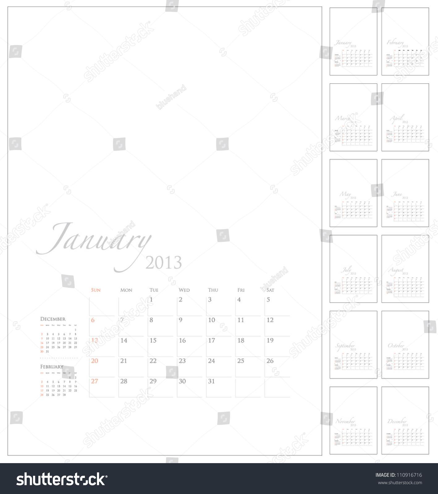 2013 calendar template picture space stock vector 110916716 cute calendar templates 2013 calendar template with picture