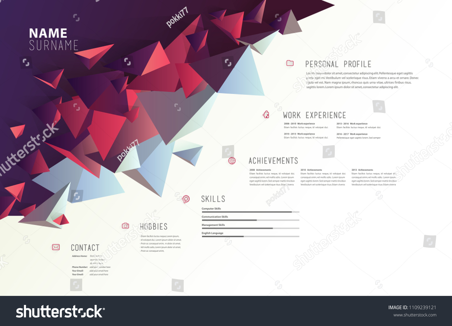 Creative Simple Cv Template Colorful Shapes Stock Vector (Royalty