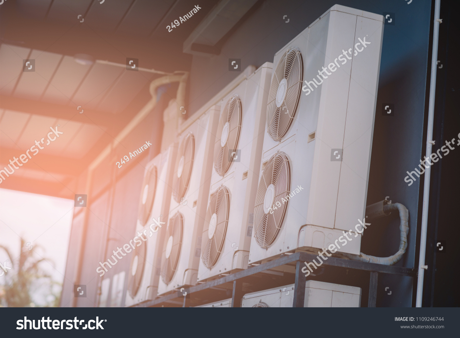 Exterior Air Conditioning Unit On Wall Stock Photo (Edit Now