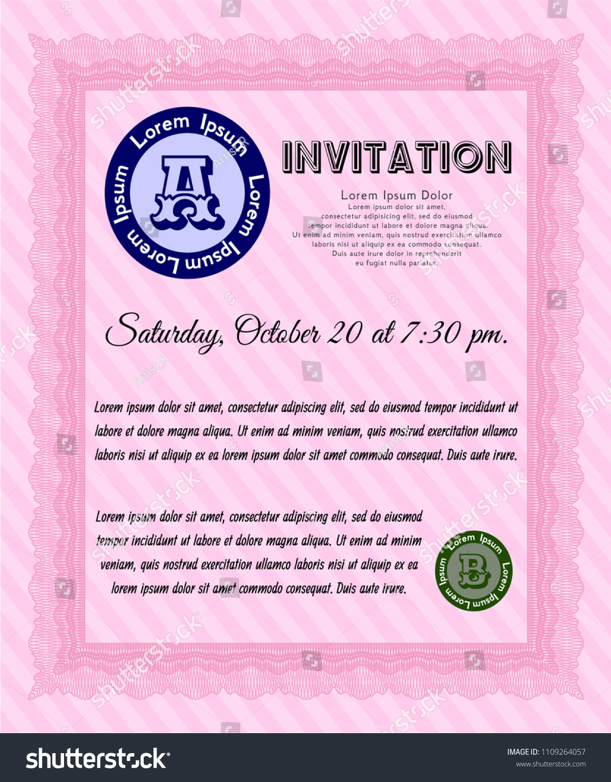 Pink Retro Invitation Retro Design With Guilloche Pattern Customizable, Easy