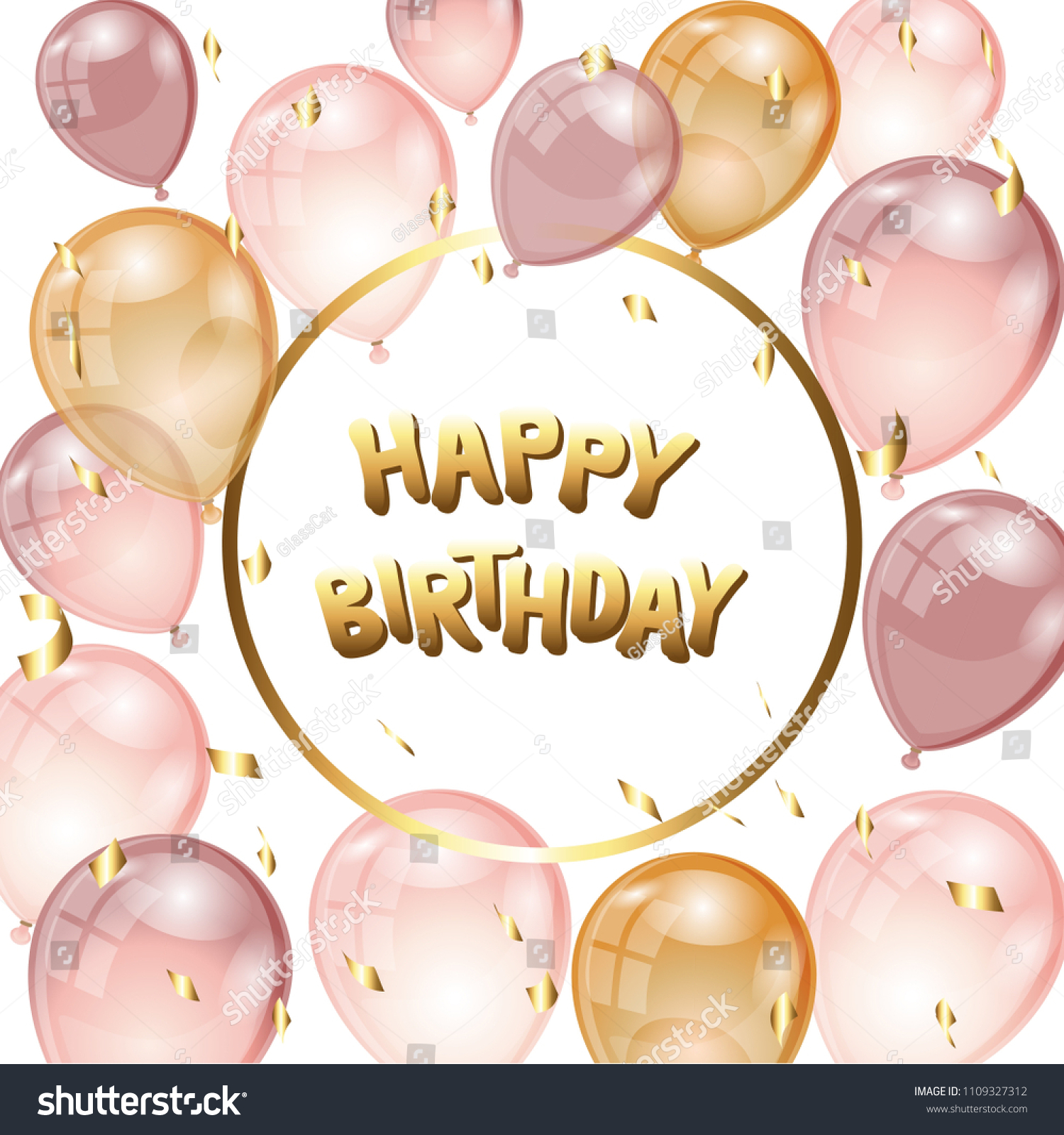 Birthday Background With Rose Gold Balloons Golden Confetti And Place For Text Celebration Card Pink Air Vector Illustration