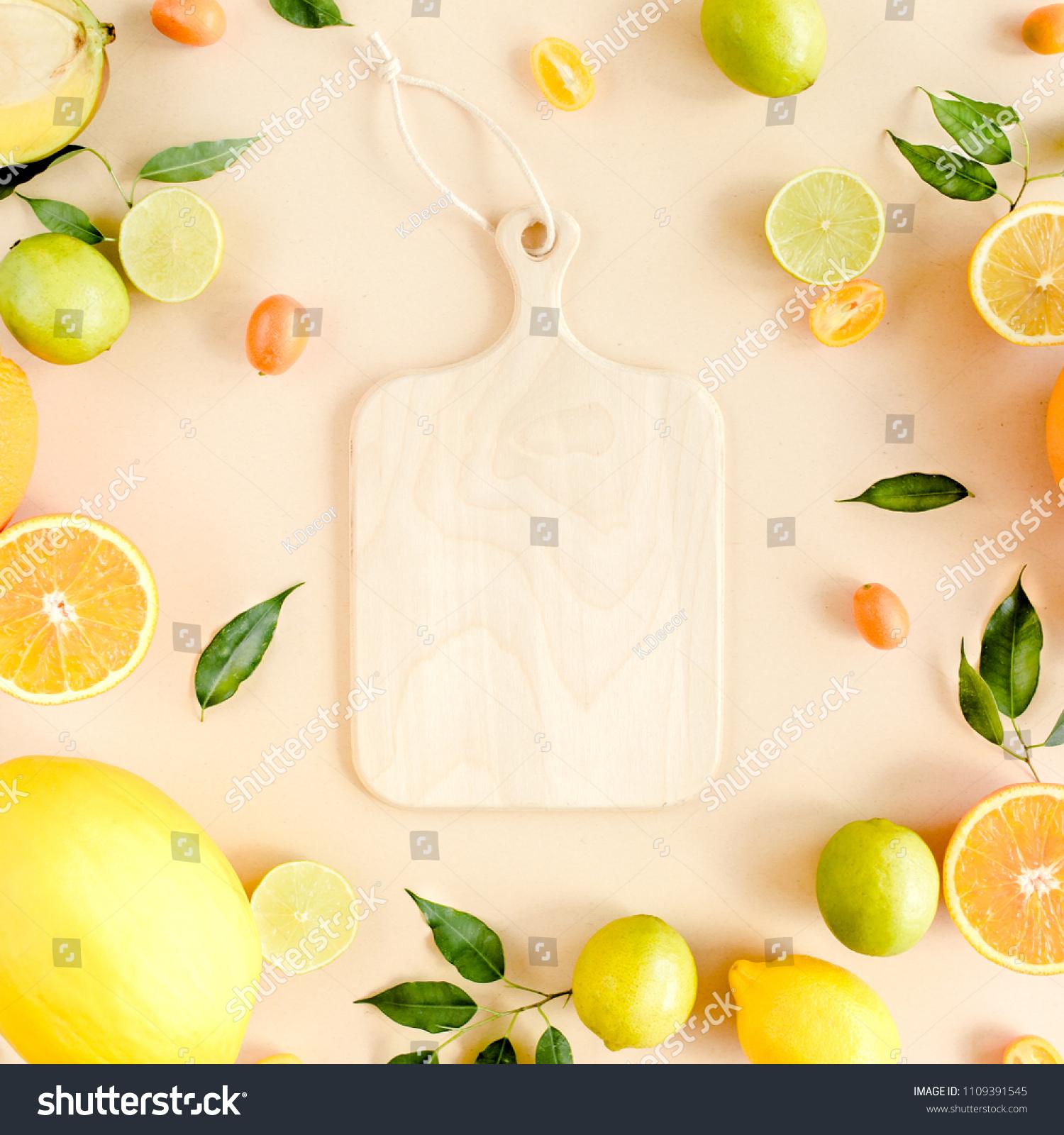 Board Frame Summer Tropical Fruits Orange Stock Photo (Royalty Free ...