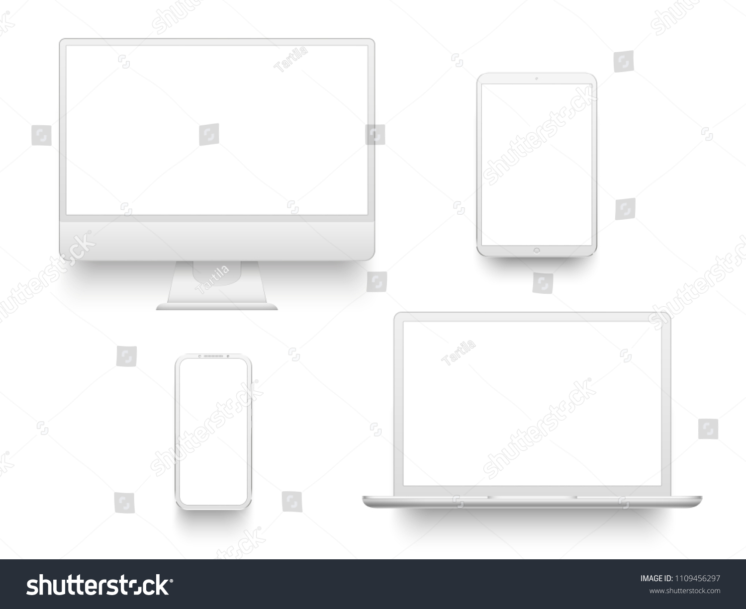 White desktop computer display screen smartphone tablet portable notebook or laptop. Outline mockup electronics devices phone monitor lines realistic simple isolated 3d vector set #1109456297