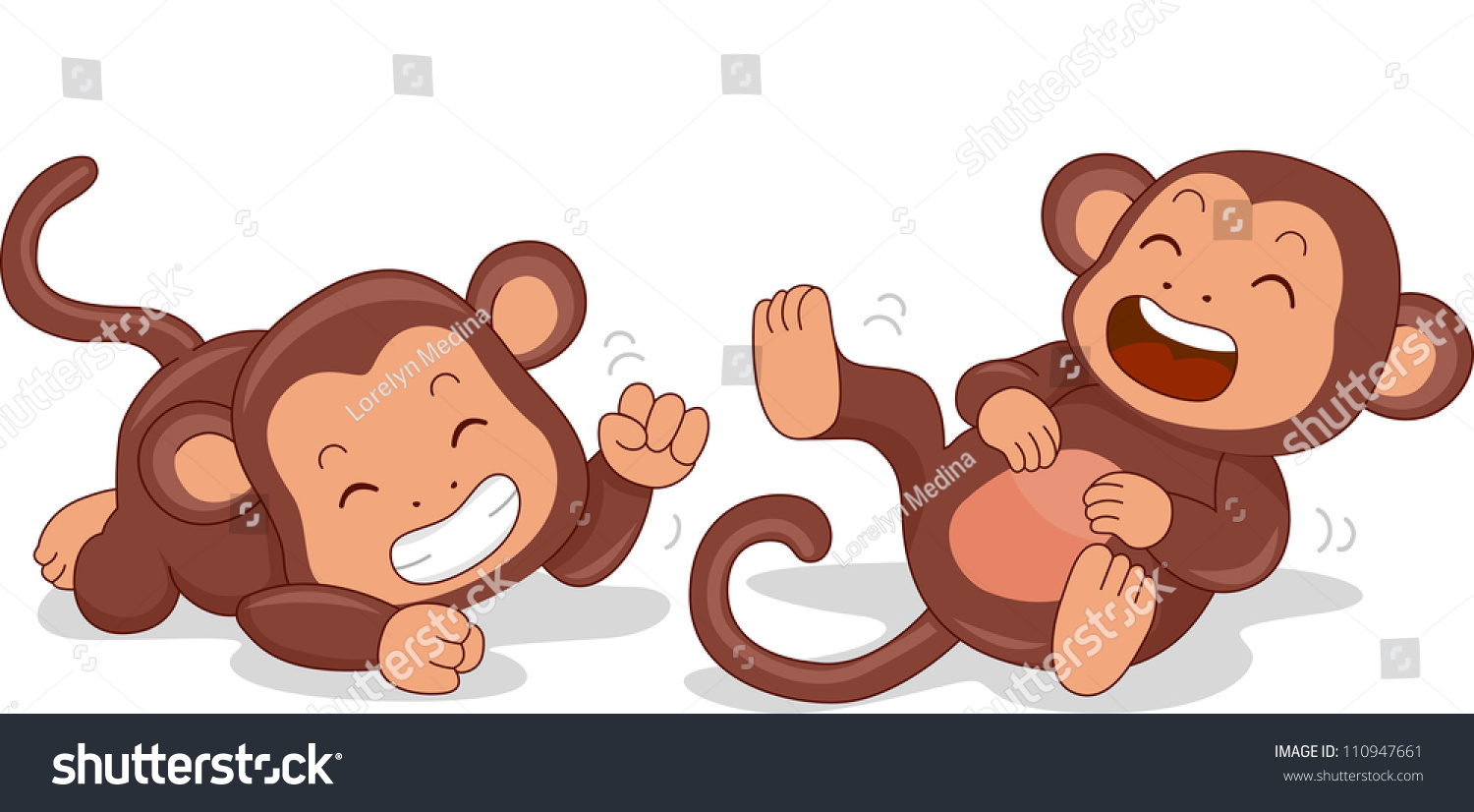 Illustration cute little monkeys rolling on stock vector