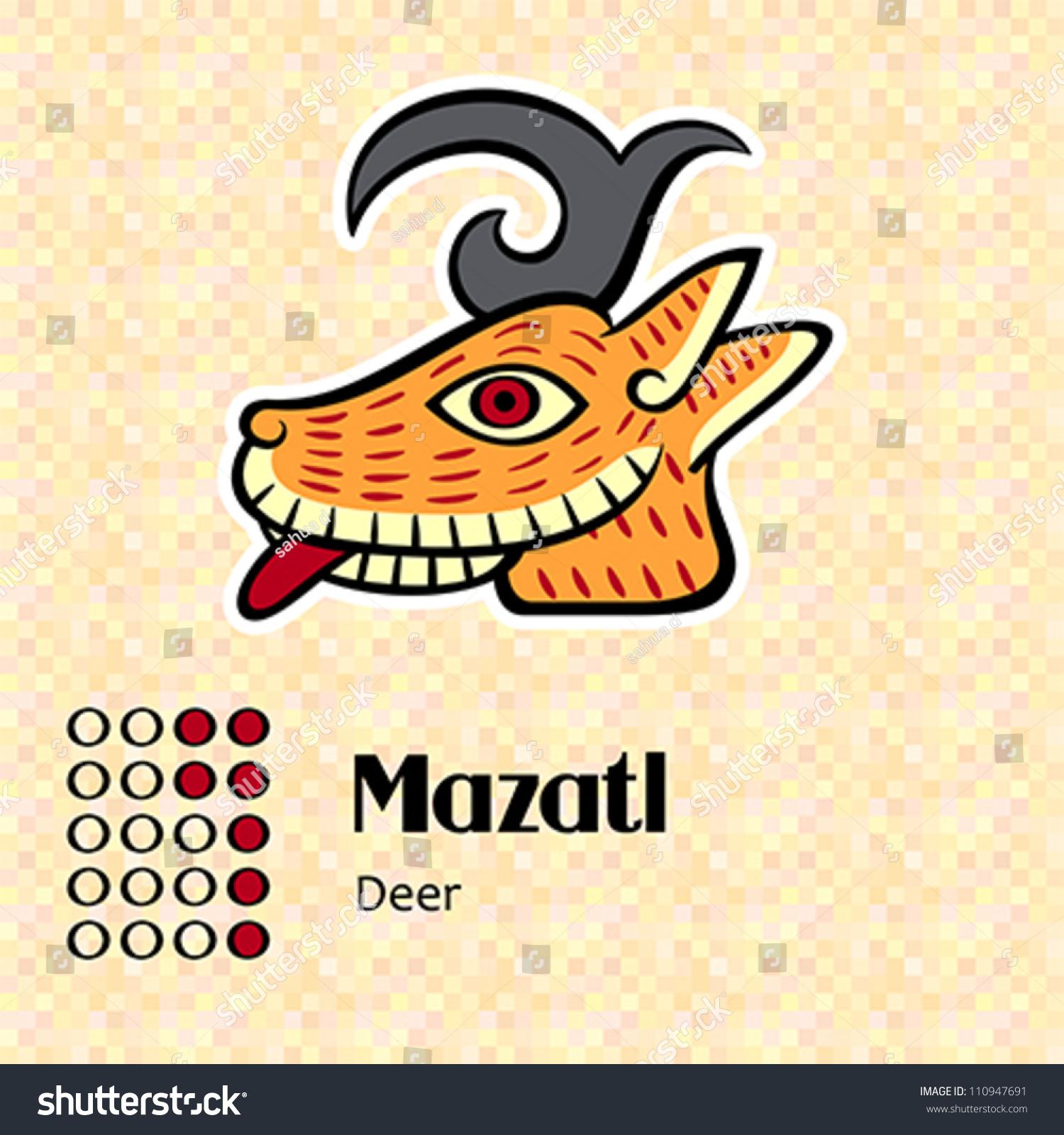 Aztec Calendar Symbols Mazatl Deer 7 Stock Vector Royalty Free