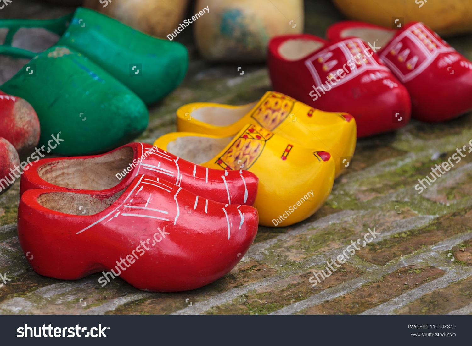 old colorful dutch wooden clogs sale stock photo 110948849